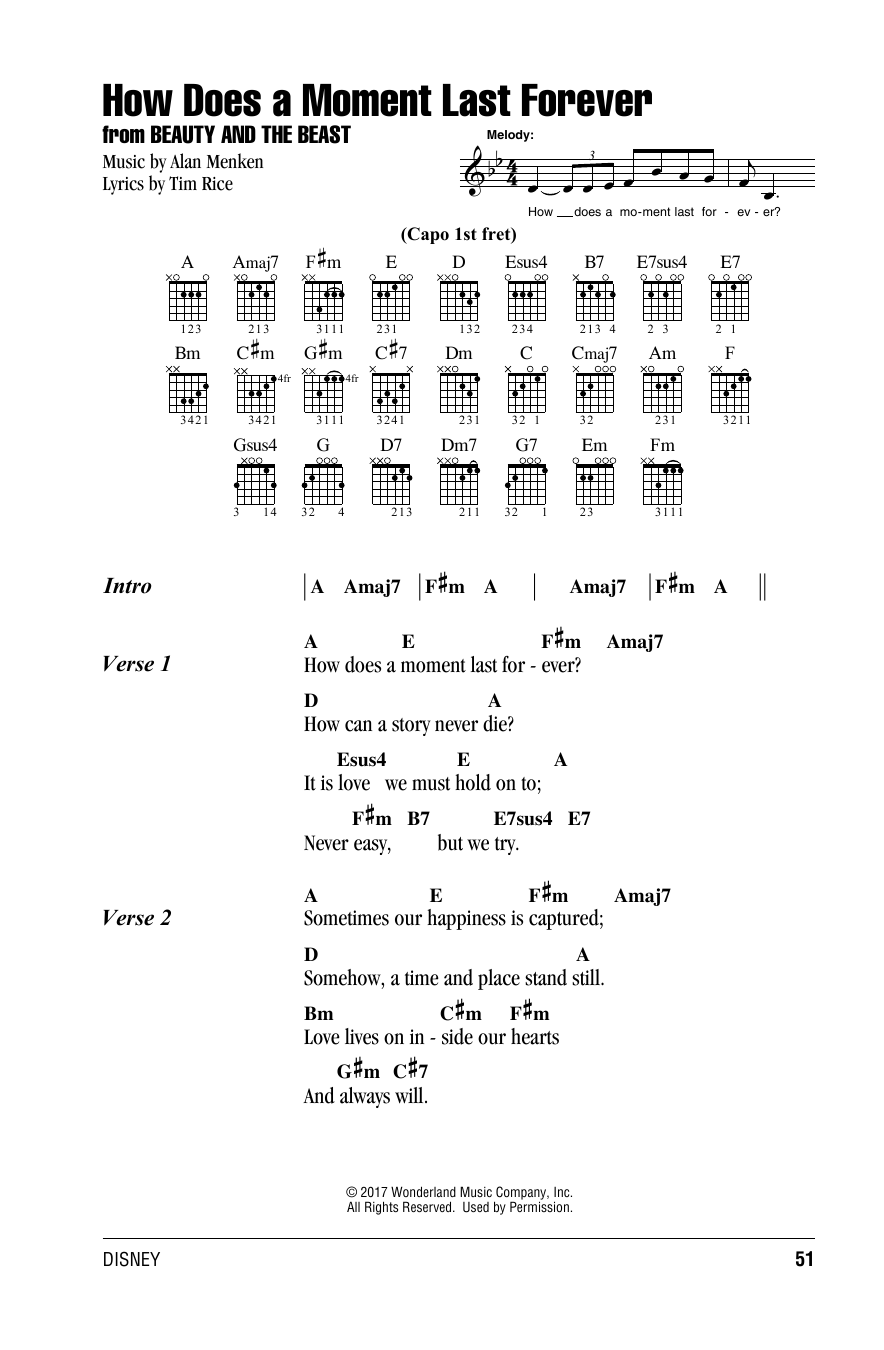 How Does A Moment Last Forever (from Beauty and The Beast) (Guitar Chords/Lyrics)