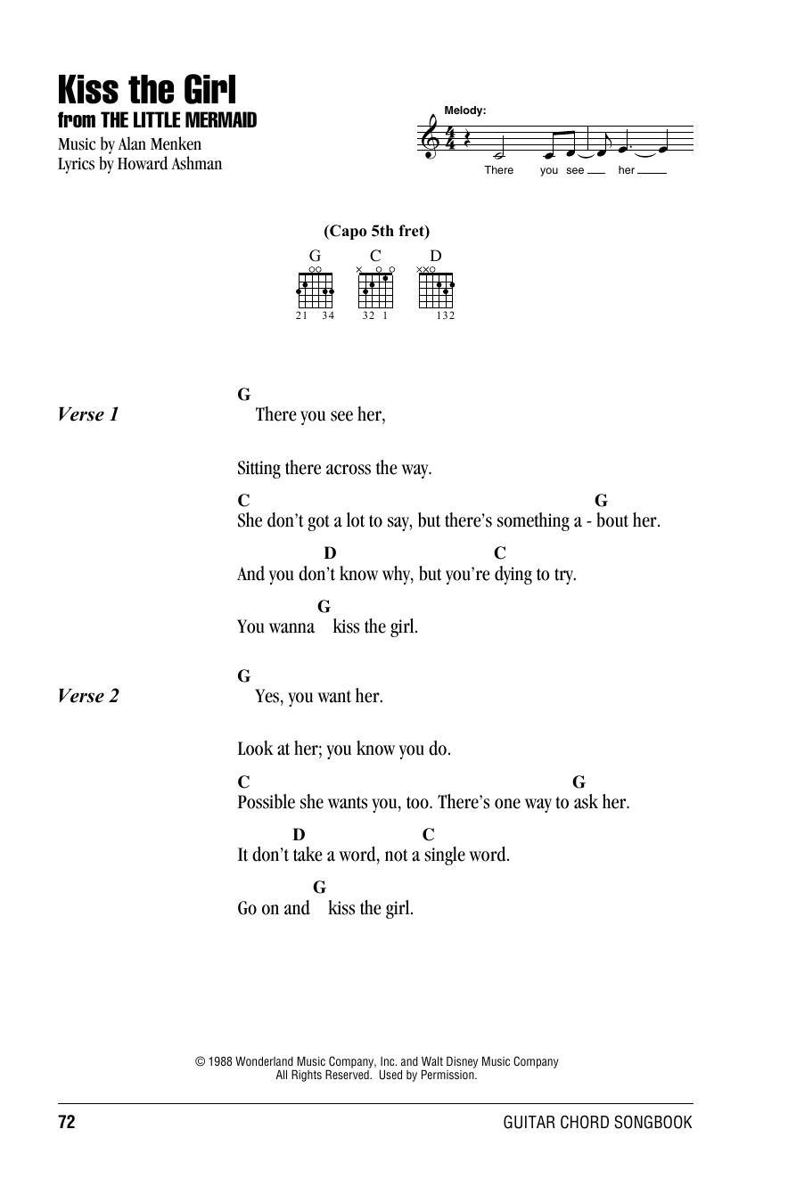 Kiss The Girl (from The Little Mermaid) (Guitar Chords/Lyrics)