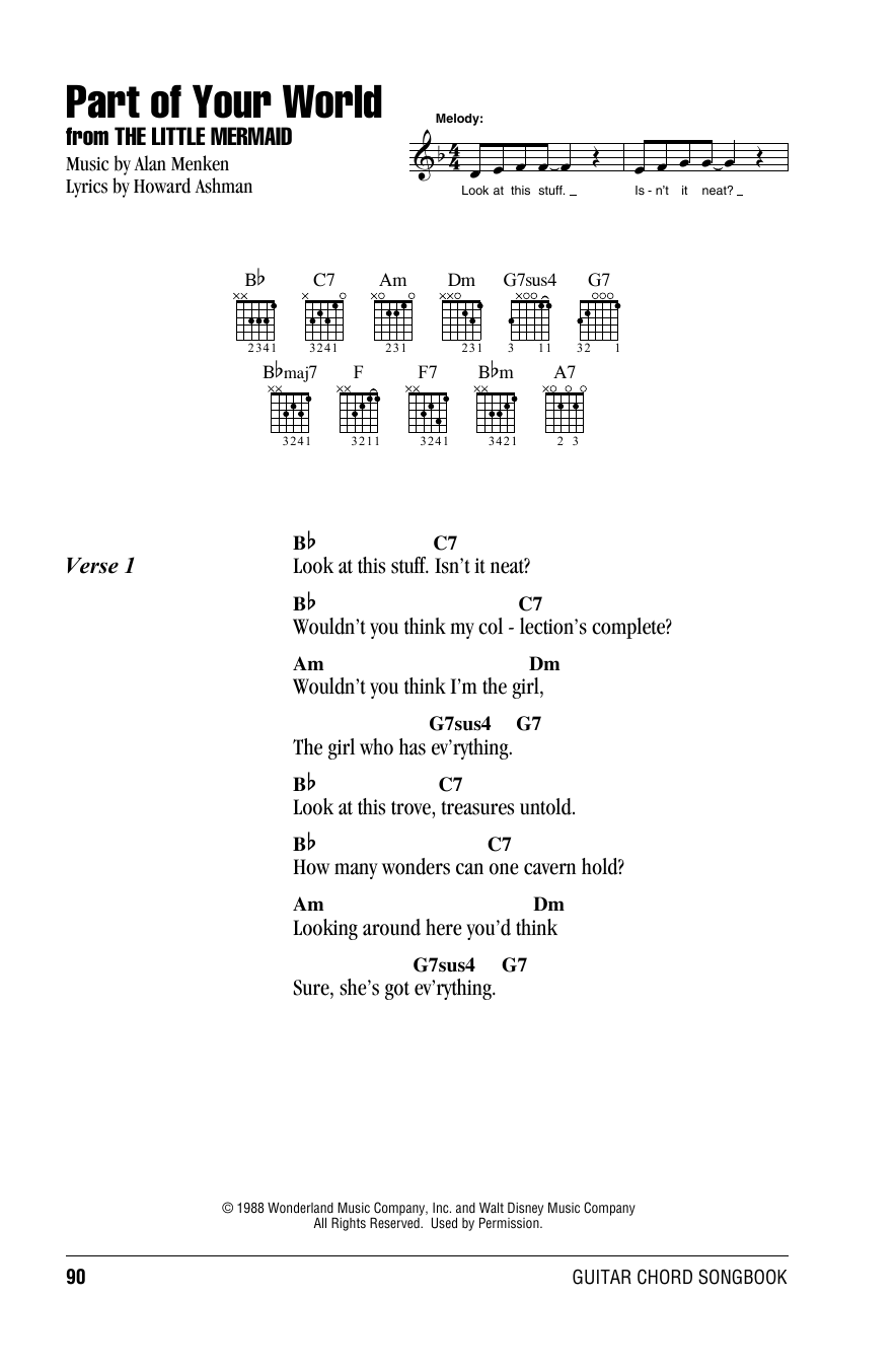 Part Of Your World (from The Little Mermaid) (Guitar Chords/Lyrics)