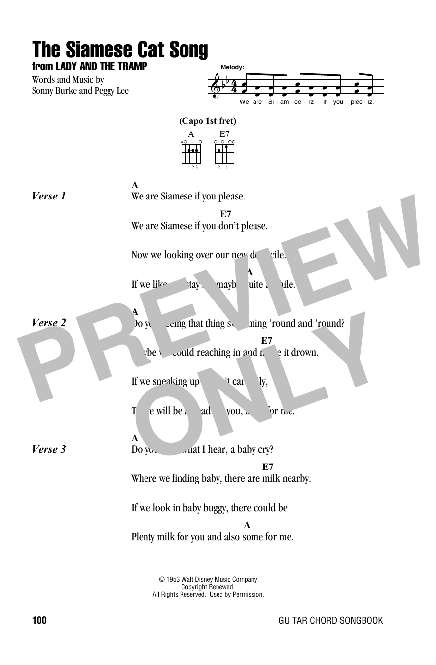 The Siamese Cat Song (from Lady And The Tramp) (Guitar Chords/Lyrics)