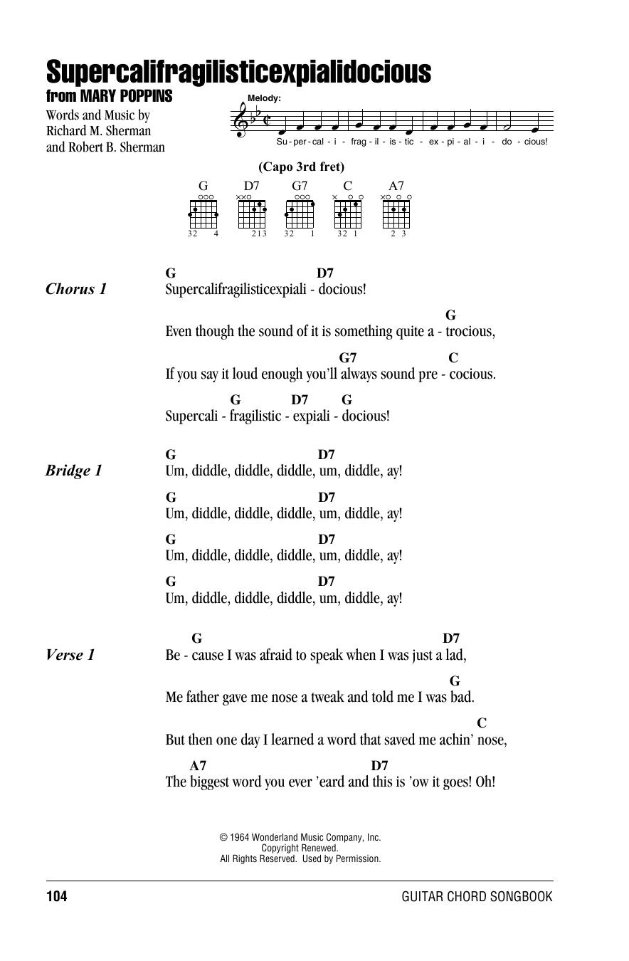 Supercalifragilisticexpialidocious (from Mary Poppins) (Guitar Chords/Lyrics)