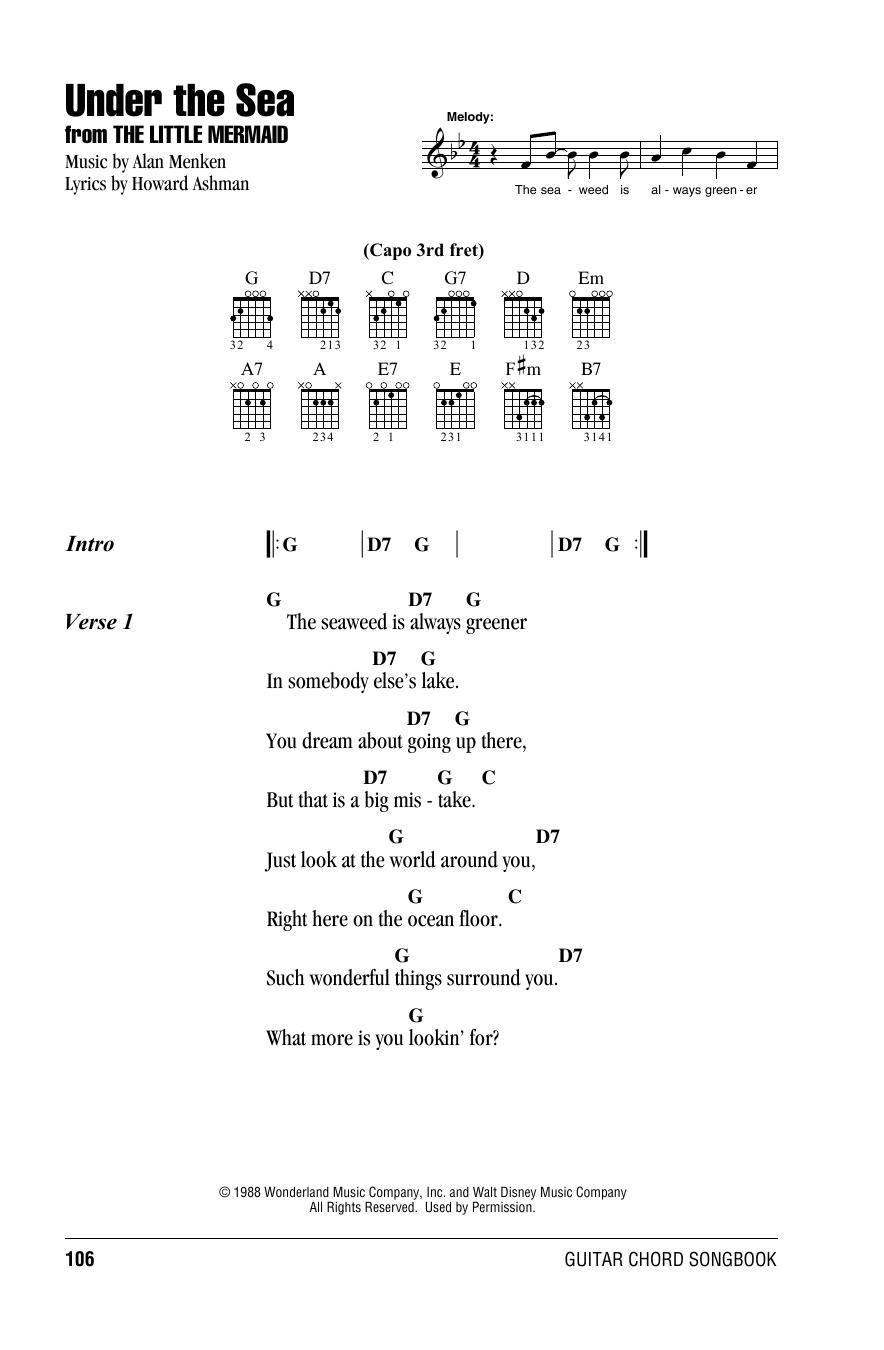 Under The Sea from The Little Mermaid Sheet Music   Alan Menken   Guitar  Chords/Lyrics