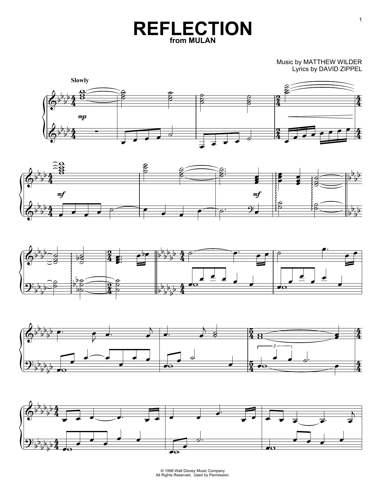 Reflection (from Mulan) (Piano Solo)