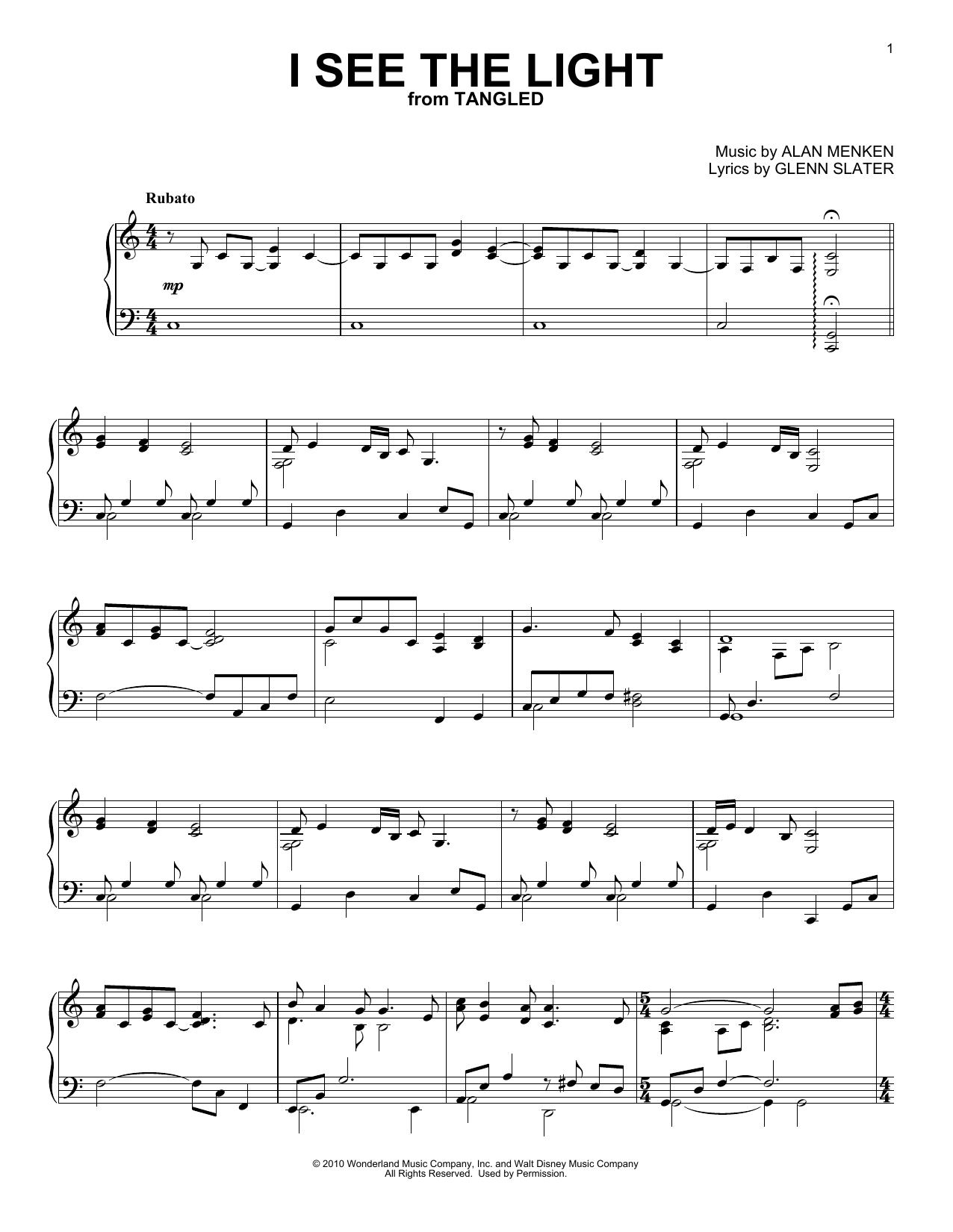 I See The Light (from Disney's Tangled) (Piano Solo)