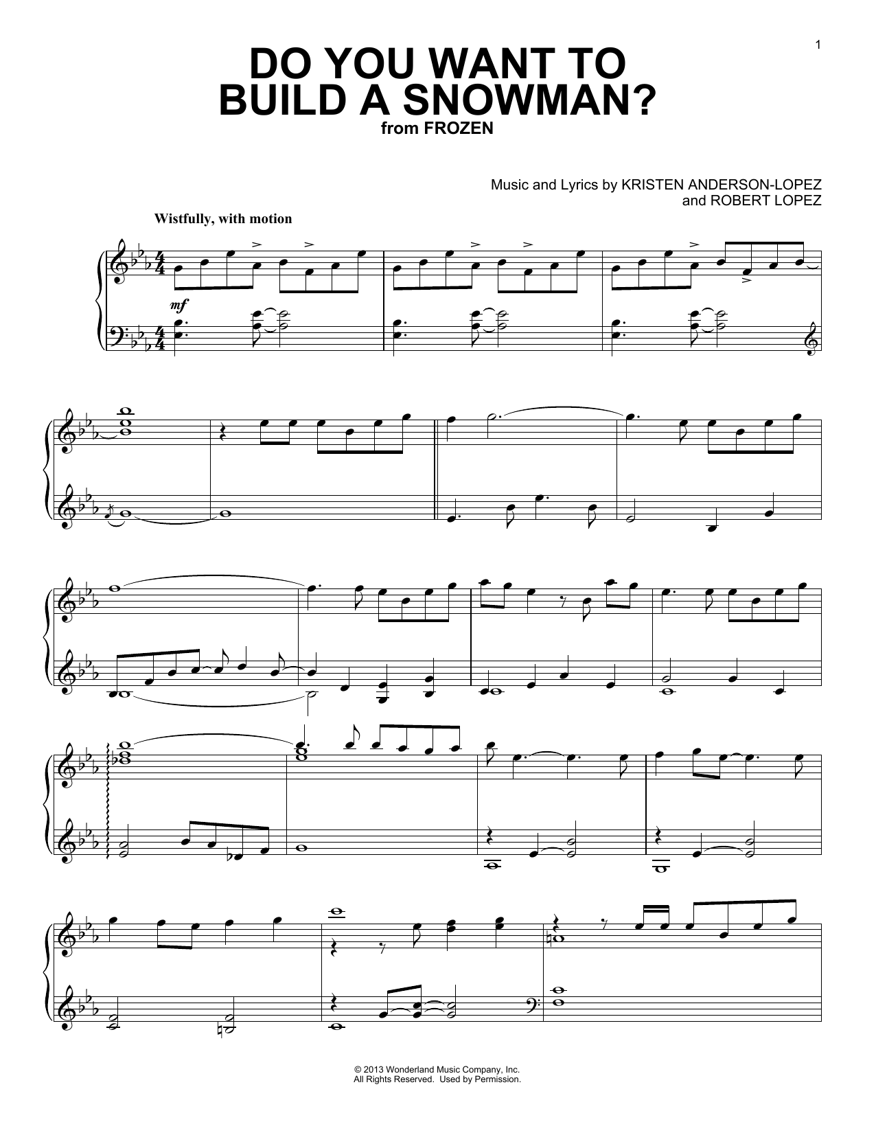 Do You Want To Build A Snowman? (from Disney's Frozen) (Piano Solo)