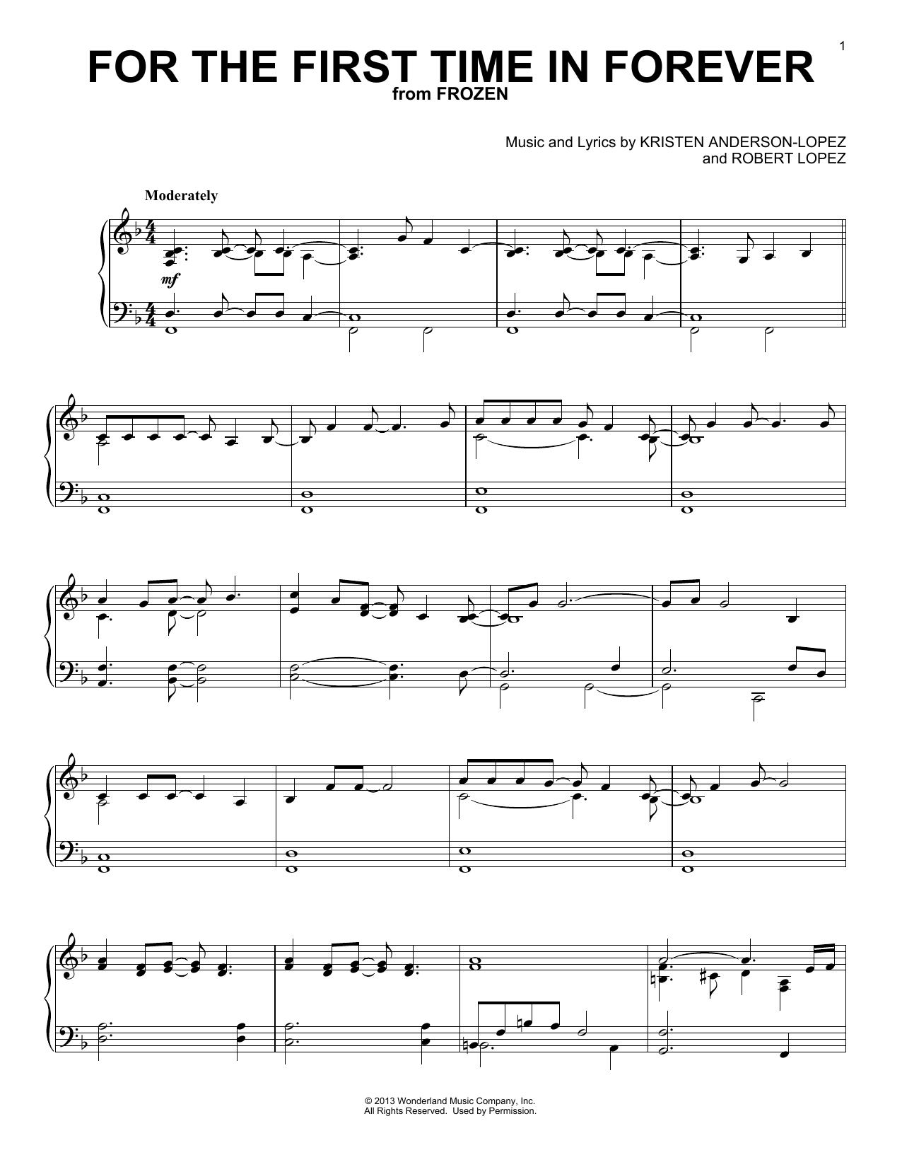 For The First Time In Forever (from Frozen) (Piano Solo)