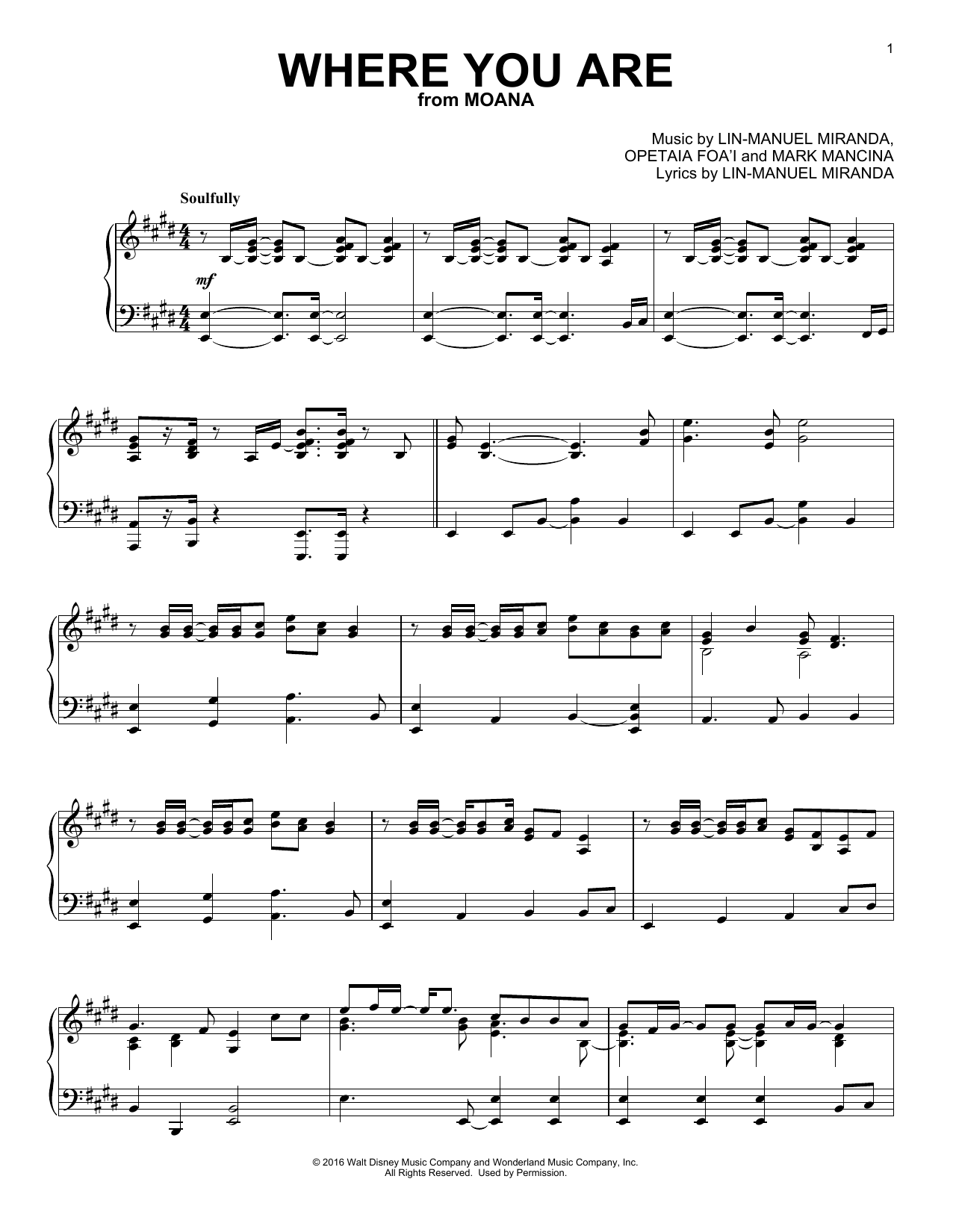 Where You Are (from Moana) (Piano Solo)