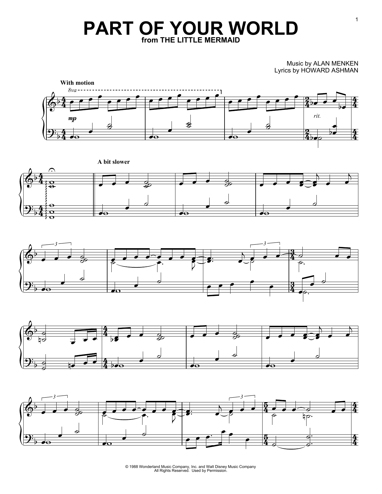 Part Of Your World (from The Little Mermaid) (Piano Solo)