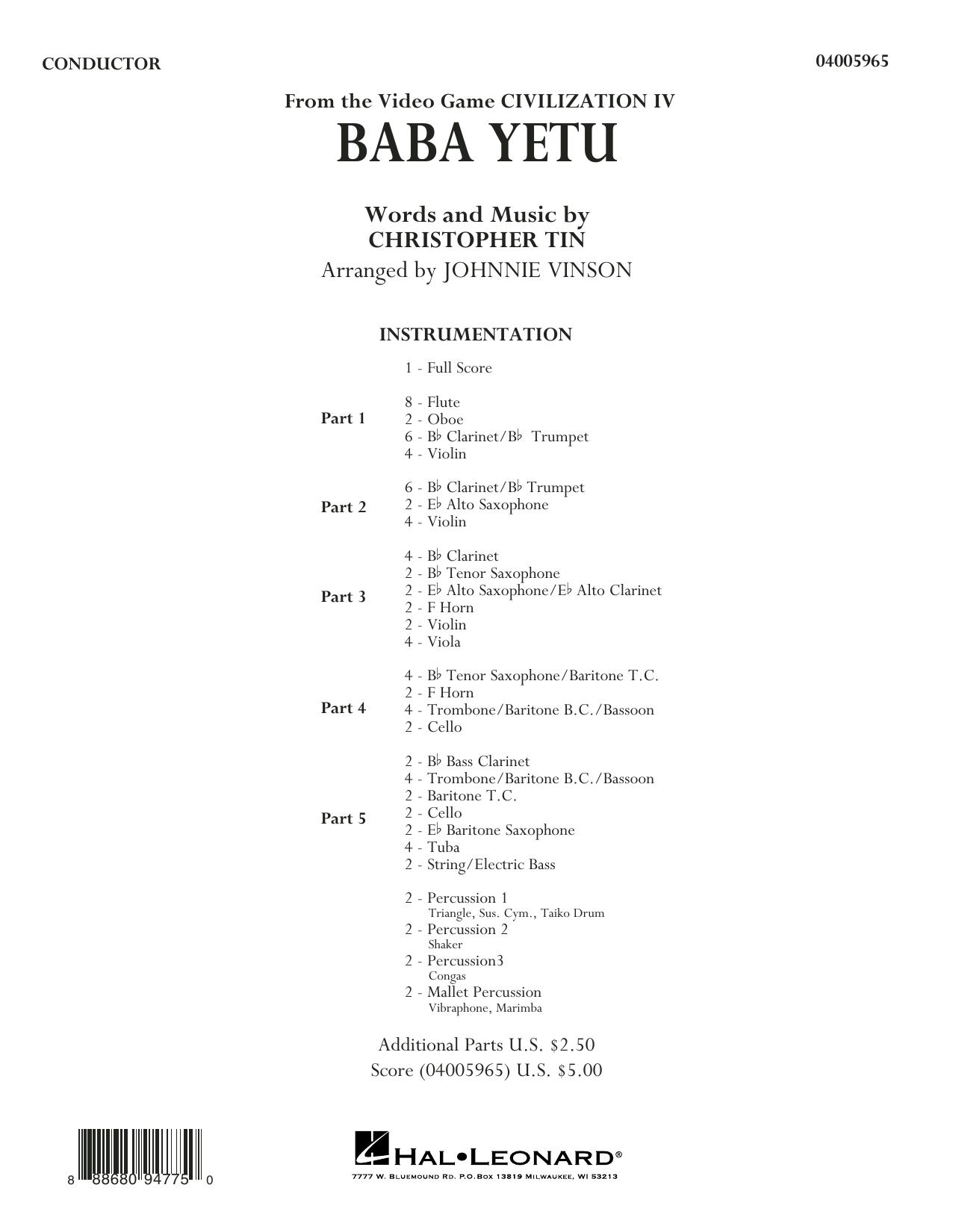 Baba Yetu (from Civilization IV) (arr. Johnnie Vinson) - Conductor Score (Full Score) (Concert Band: Flex-Band)