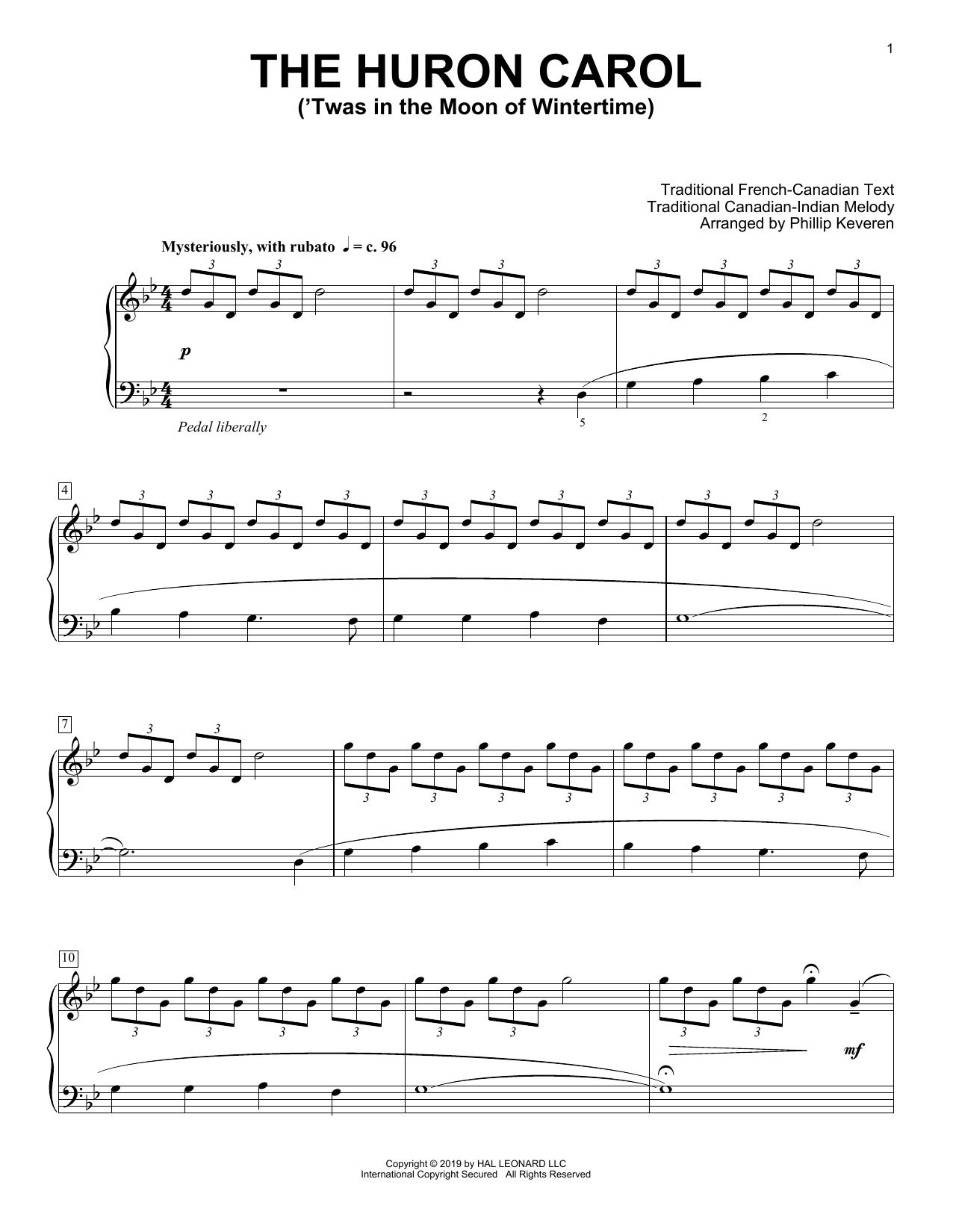 The Huron Carol ('Twas In The Moon Of Wintertime) [Classical version] (arr. Phillip Keveren) (Piano Solo)