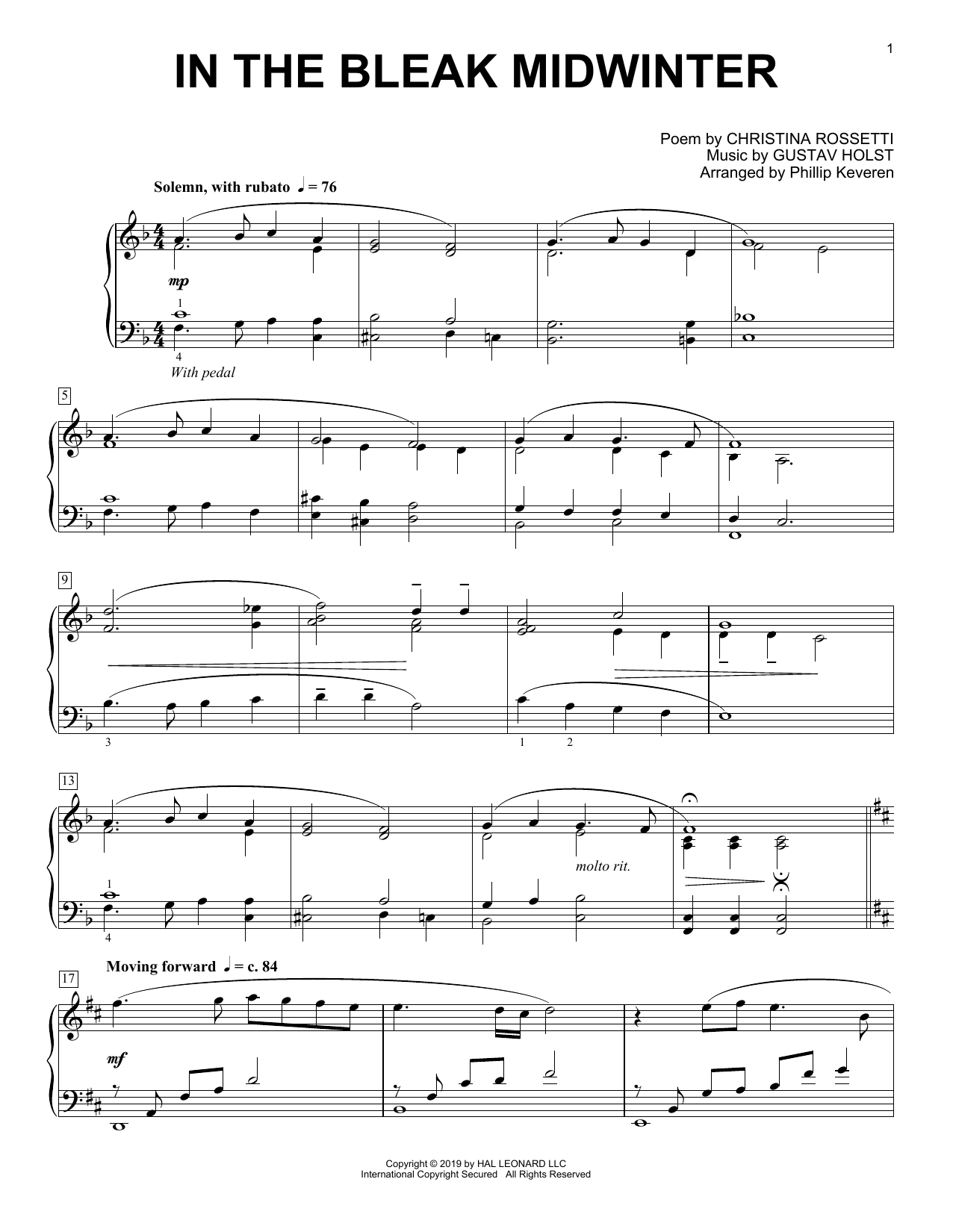 In The Bleak Midwinter [Classical version] (arr. Phillip Keveren) (Piano Solo)