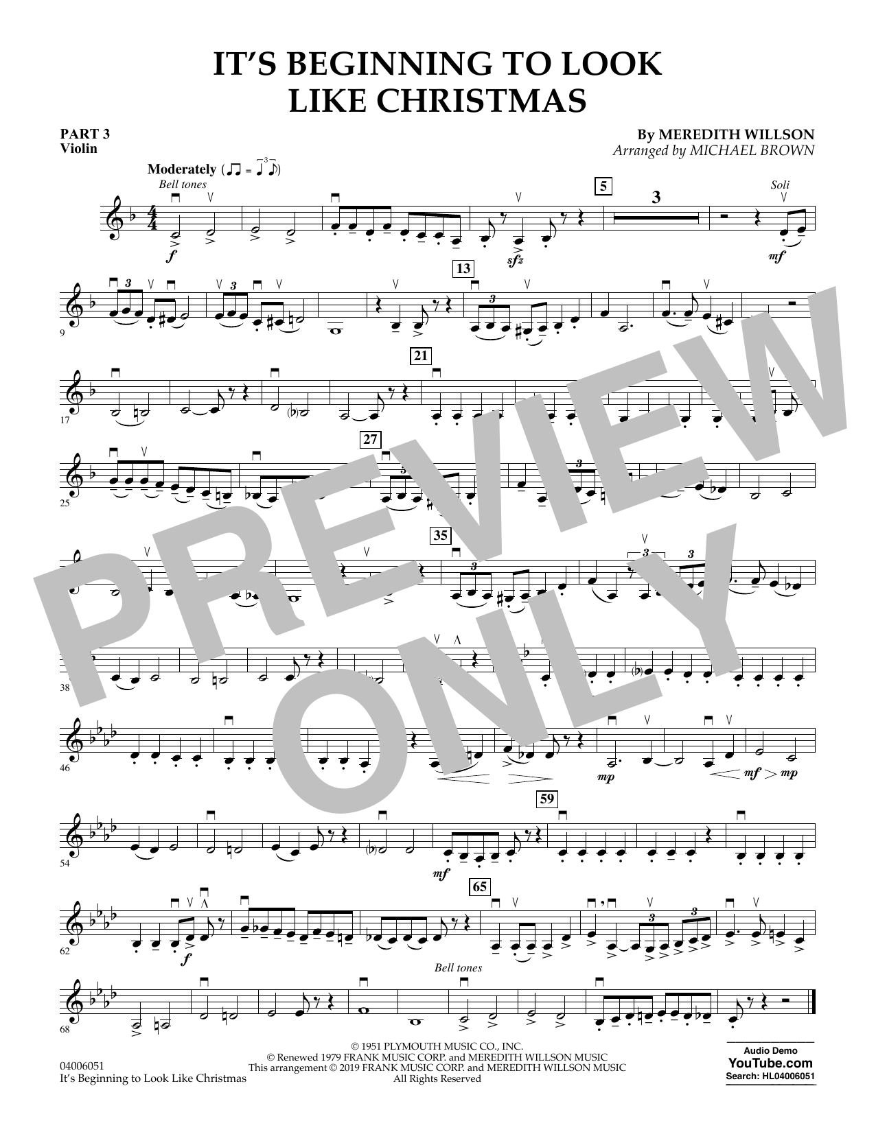 It's Beginning to Look Like Christmas (arr. Michael Brown) - Pt.3 - Violin (Flex-Band)