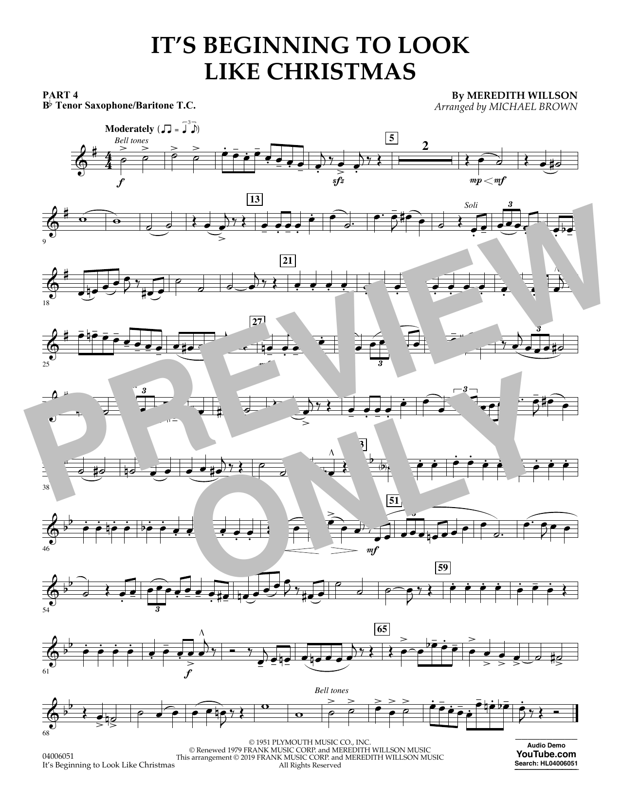 It's Beginning to Look Like Christmas (arr. Michael Brown) - Pt.4 - Bb Tenor Sax/Bar. T.C. (Flex-Band)