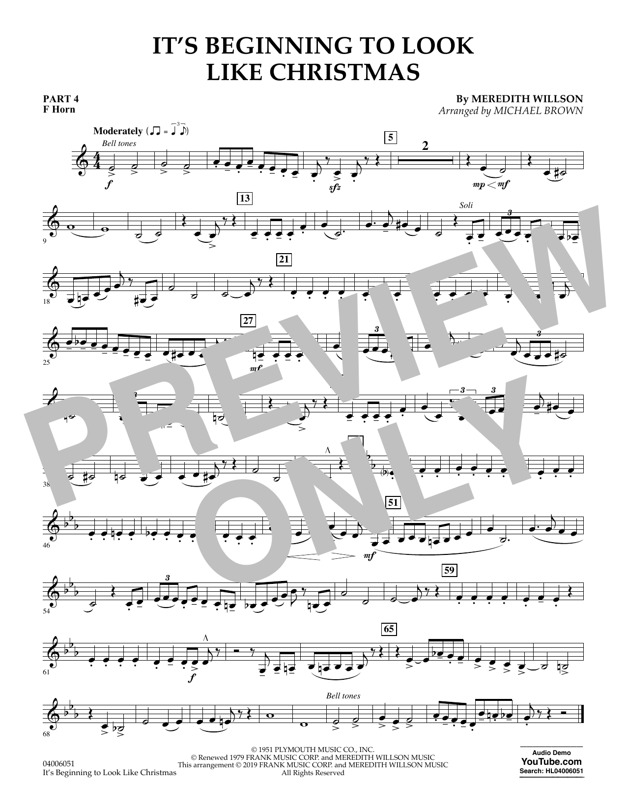 It's Beginning to Look Like Christmas (arr. Michael Brown) - Pt.4 - F Horn (Flex-Band)