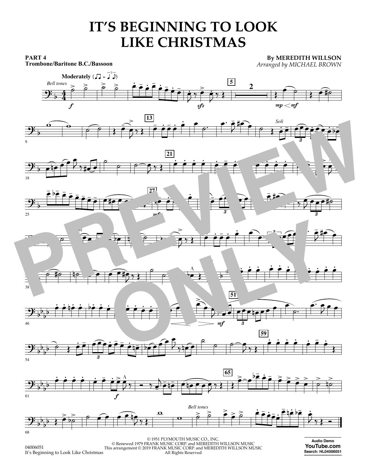 It's Beginning to Look Like Christmas (arr. Michael Brown) - Pt.4 - Trombone/Bar. B.C./Bsn. (Flex-Band)