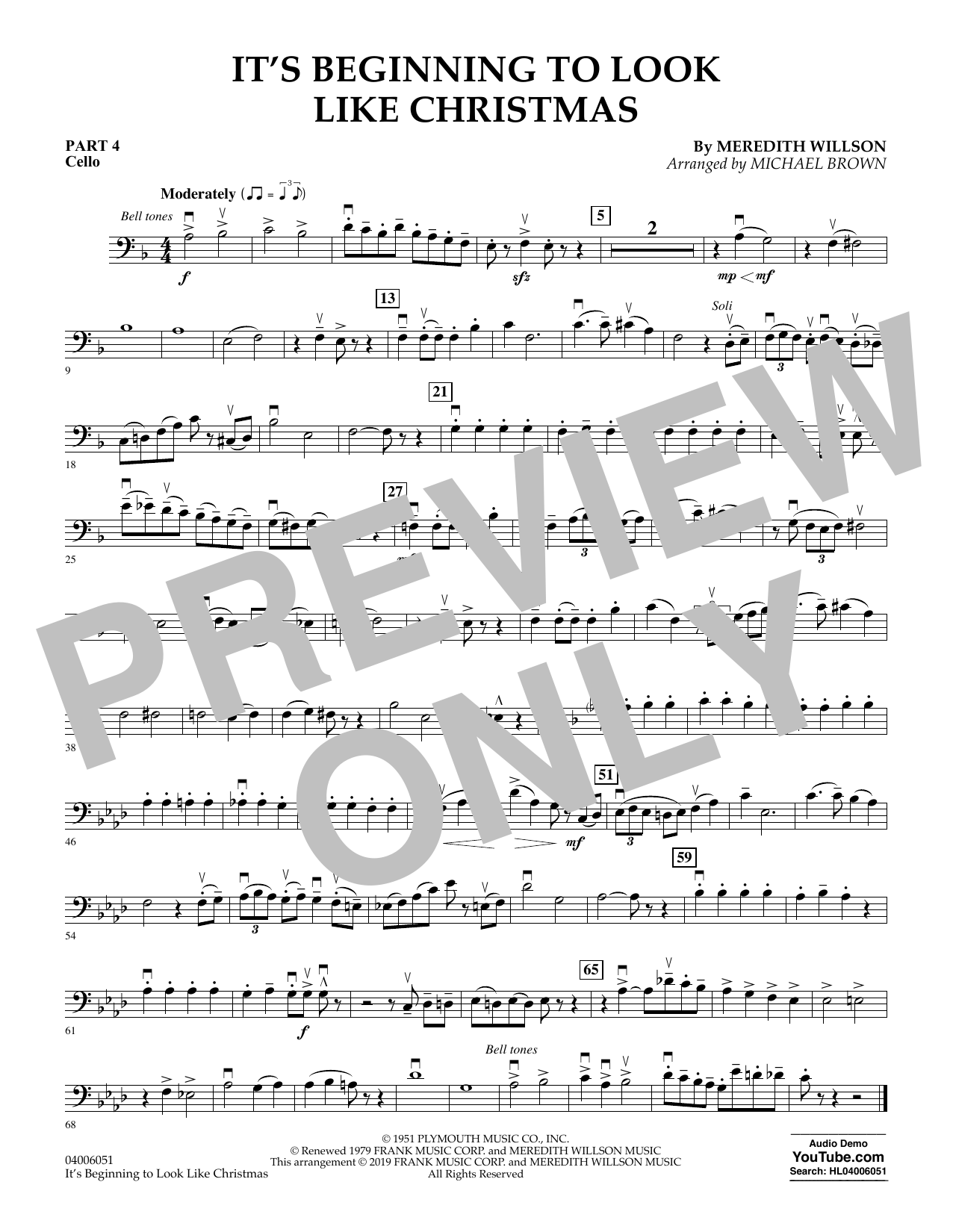 It's Beginning to Look Like Christmas (arr. Michael Brown) - Pt.4 - Cello (Flex-Band)