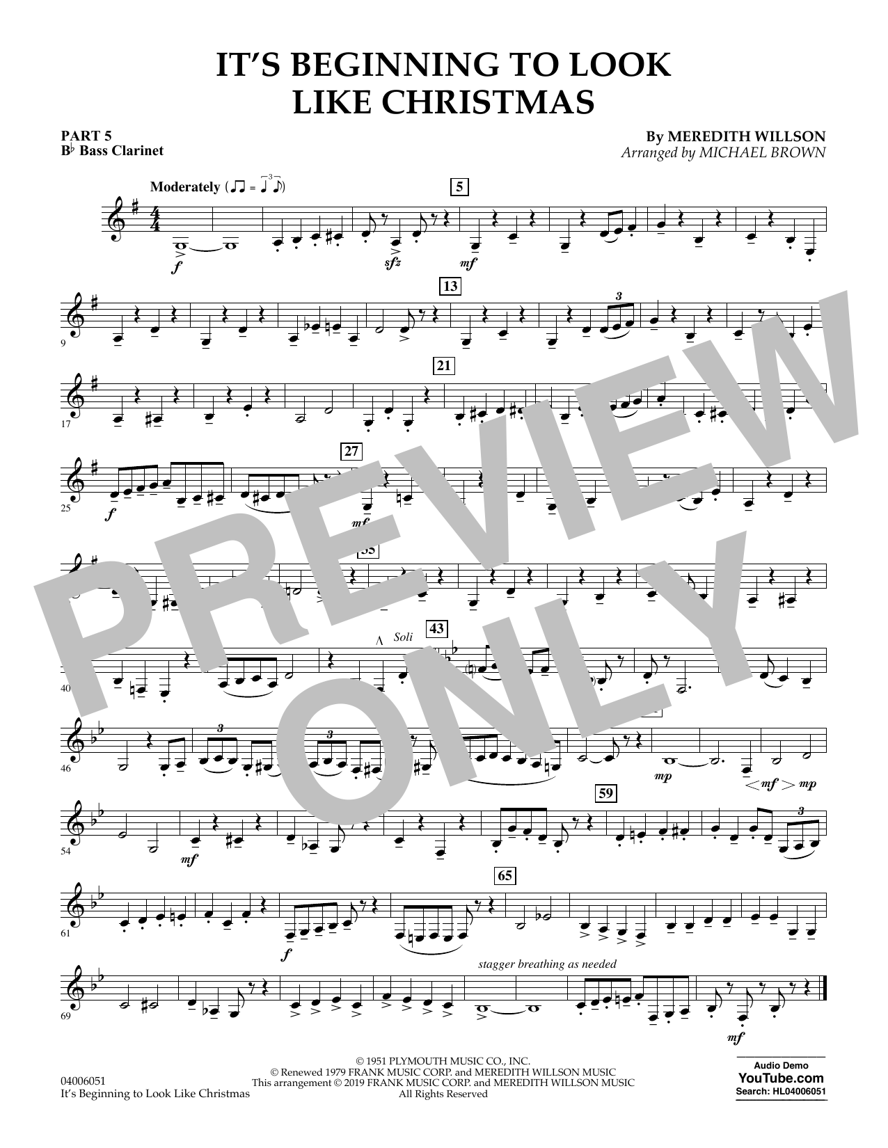 It's Beginning to Look Like Christmas (arr. Michael Brown) - Pt.5 - Bb Bass Clarinet (Concert Band: Flex-Band)