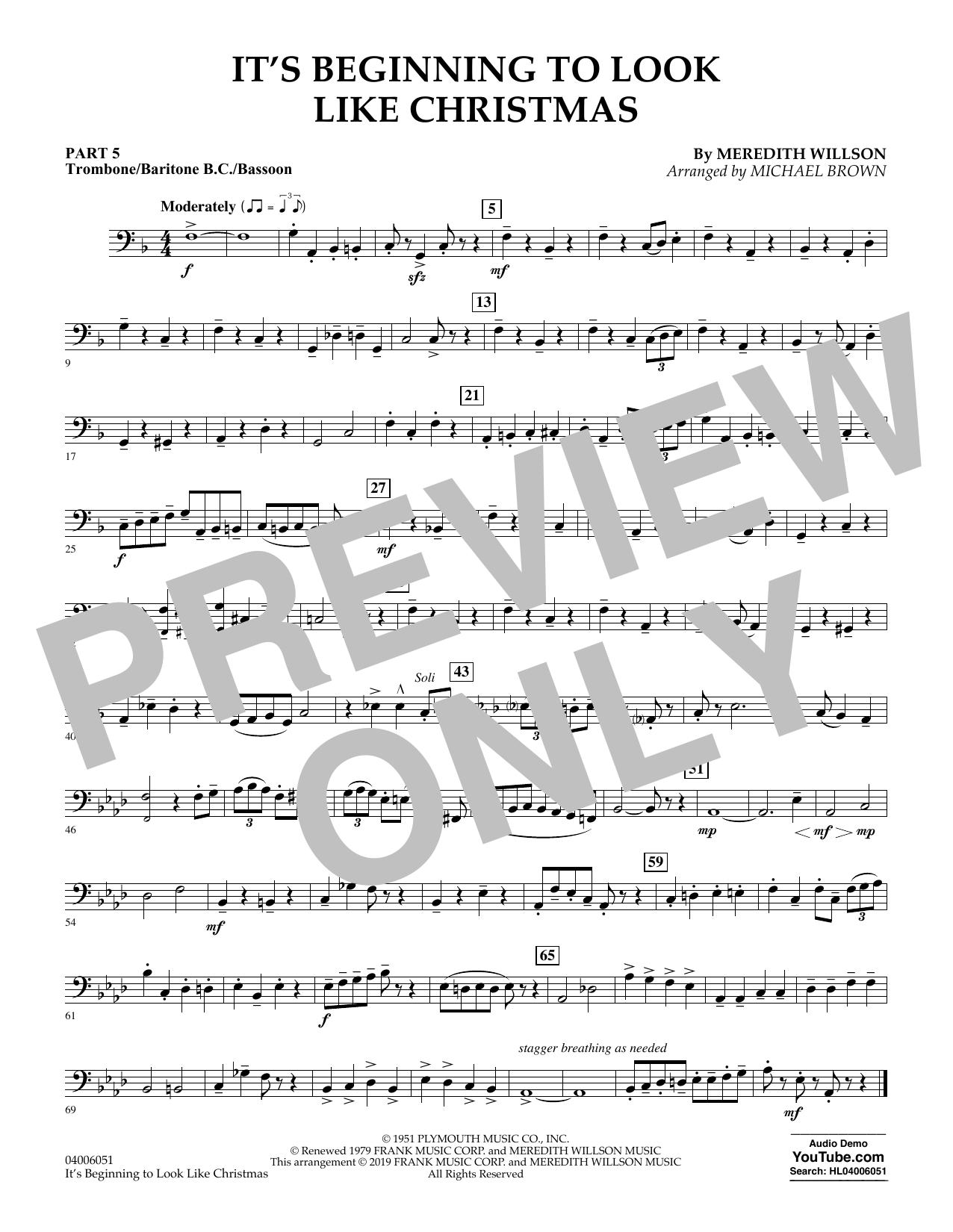 It's Beginning to Look Like Christmas (arr. Michael Brown) - Pt.5 - Trombone/Bar. B.C./Bsn. (Concert Band: Flex-Band)