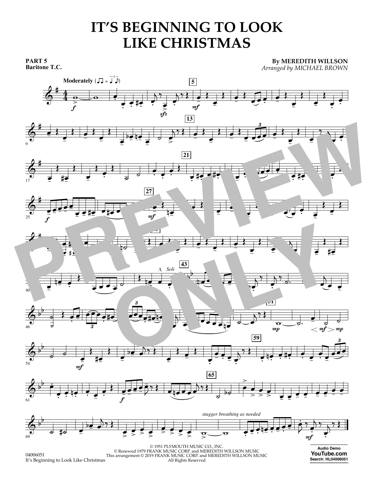 It's Beginning to Look Like Christmas (arr. Michael Brown) - Pt.5 - Baritone T.C. (Flex-Band)