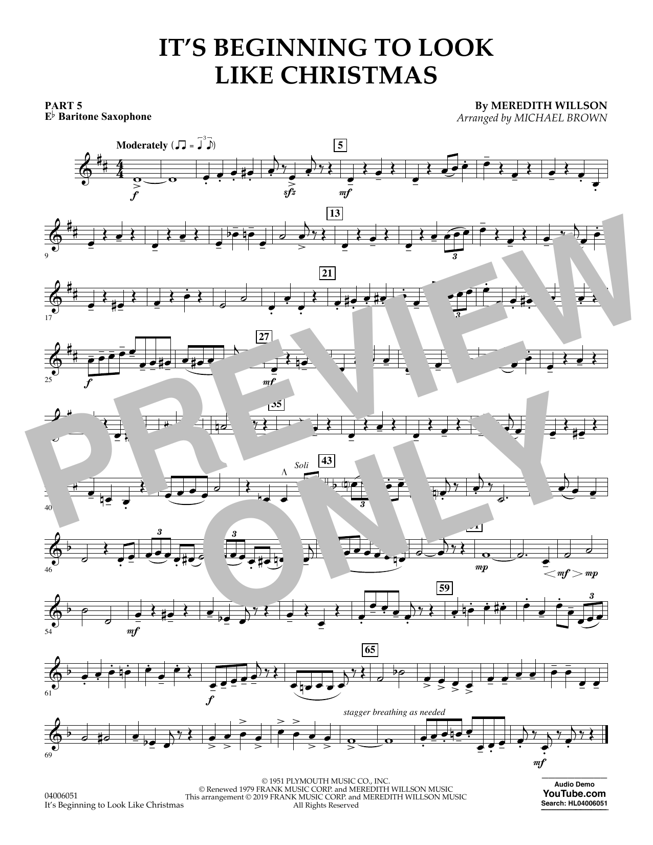 It's Beginning to Look Like Christmas (arr. Michael Brown) - Pt.5 - Eb Baritone Saxophone (Concert Band: Flex-Band)