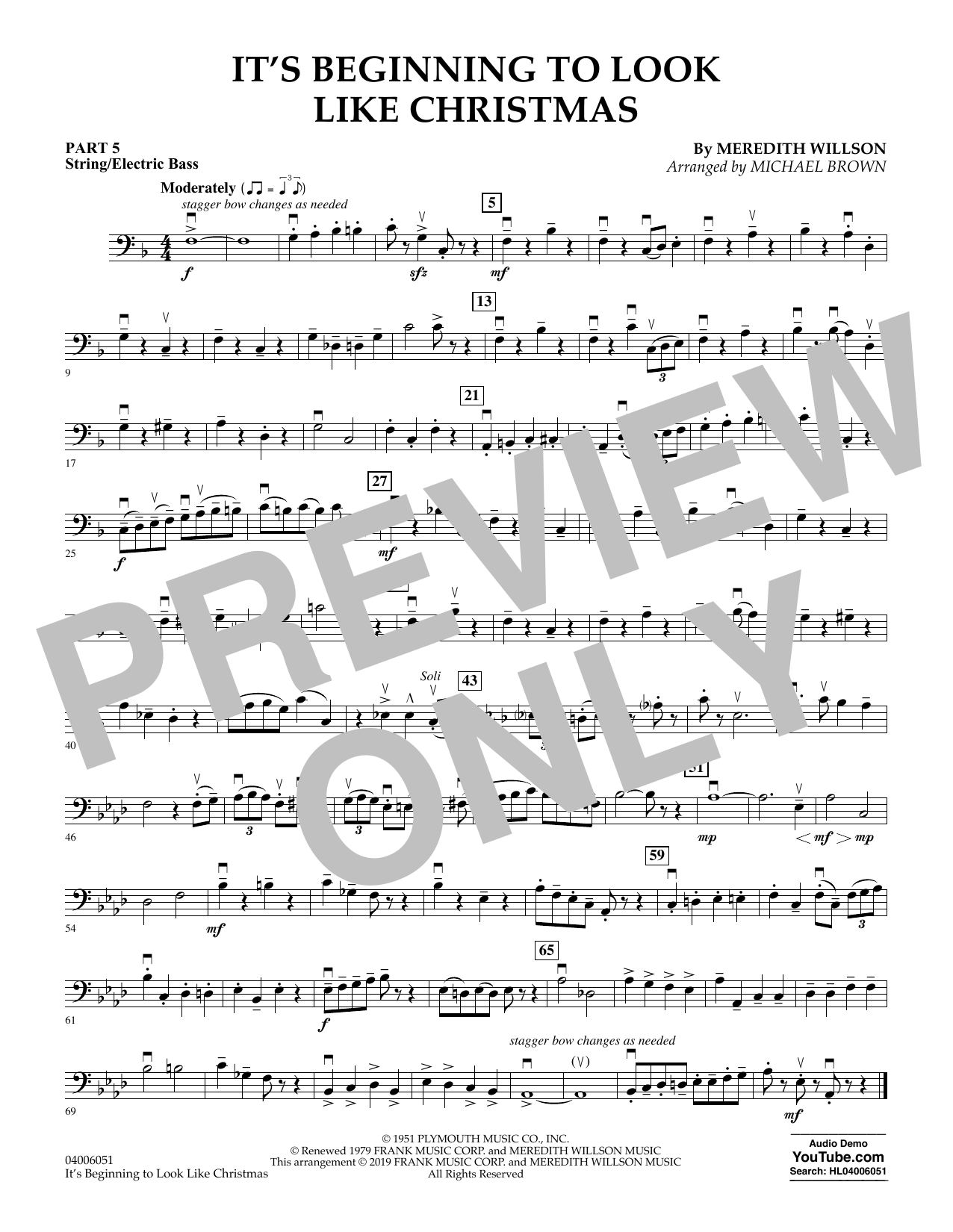 It's Beginning to Look Like Christmas (arr. Michael Brown) - Pt.5 - String/Electric Bass (Concert Band: Flex-Band)