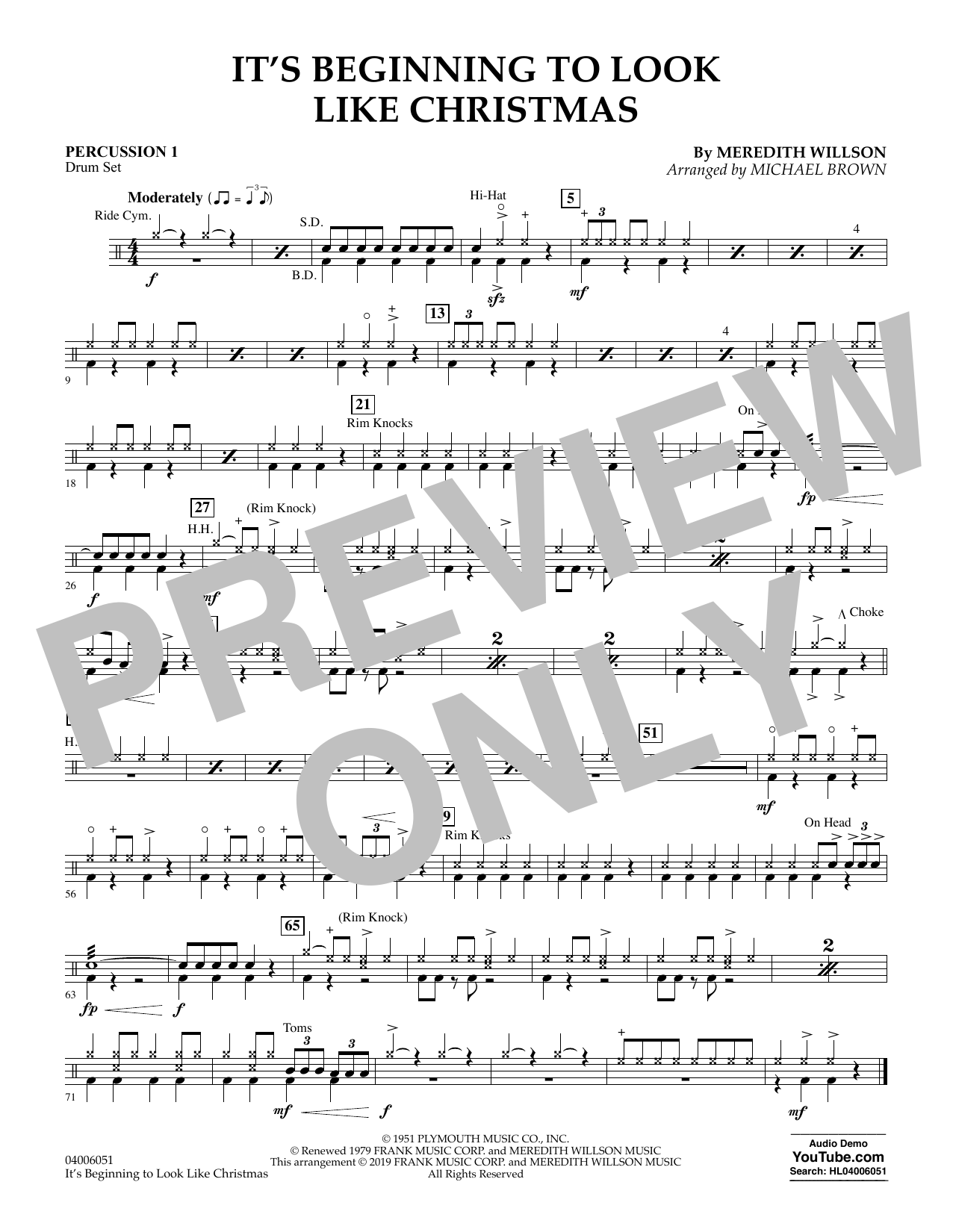 It's Beginning to Look Like Christmas (arr. Michael Brown) - Percussion 1 (Flex-Band)