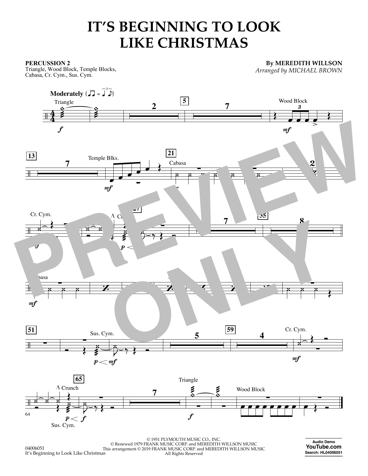It's Beginning to Look Like Christmas (arr. Michael Brown) - Percussion 2 (Flex-Band)
