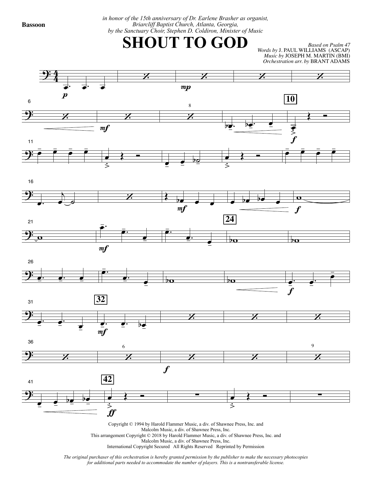 Shout to God - Bassoon Sheet Music