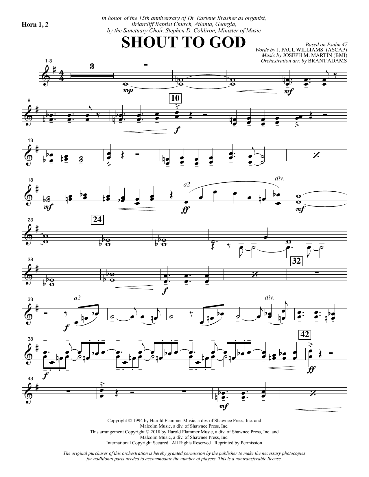 Shout to God - F Horn 1 & 2 Sheet Music