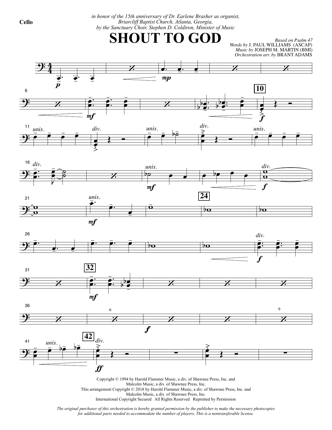 Shout to God - Cello Sheet Music