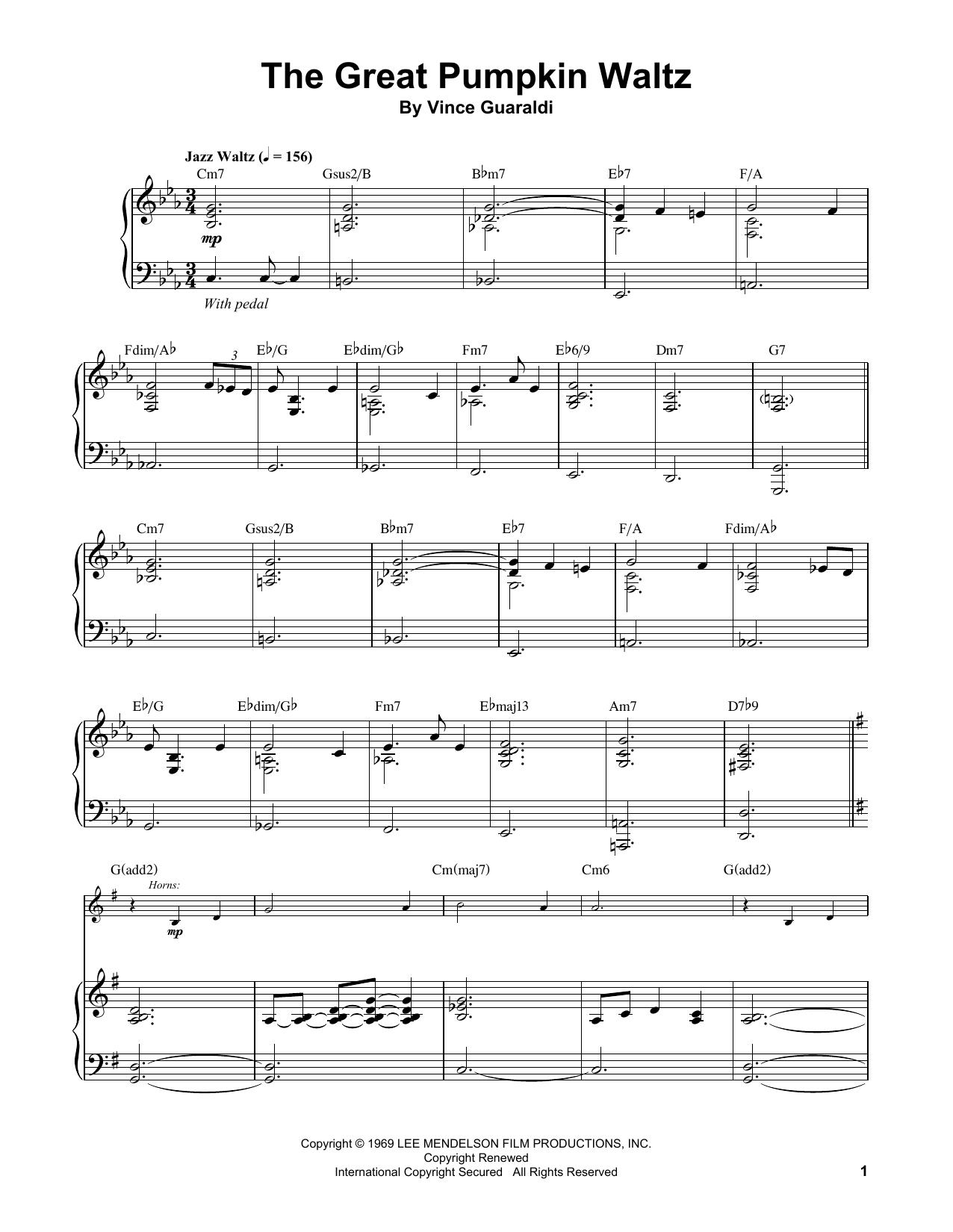 The Great Pumpkin Waltz (Piano Transcription)