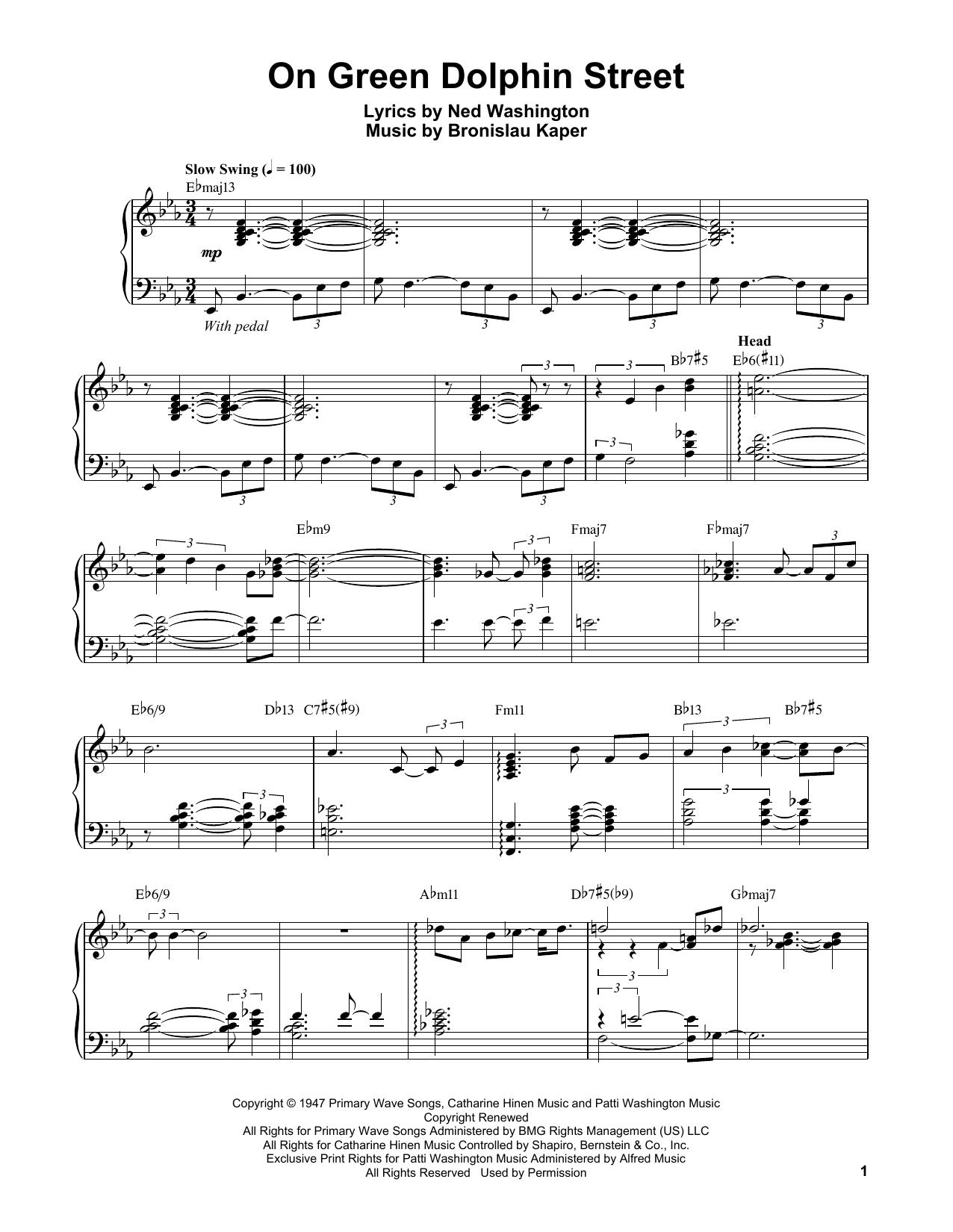 On Green Dolphin Street (Piano Transcription)