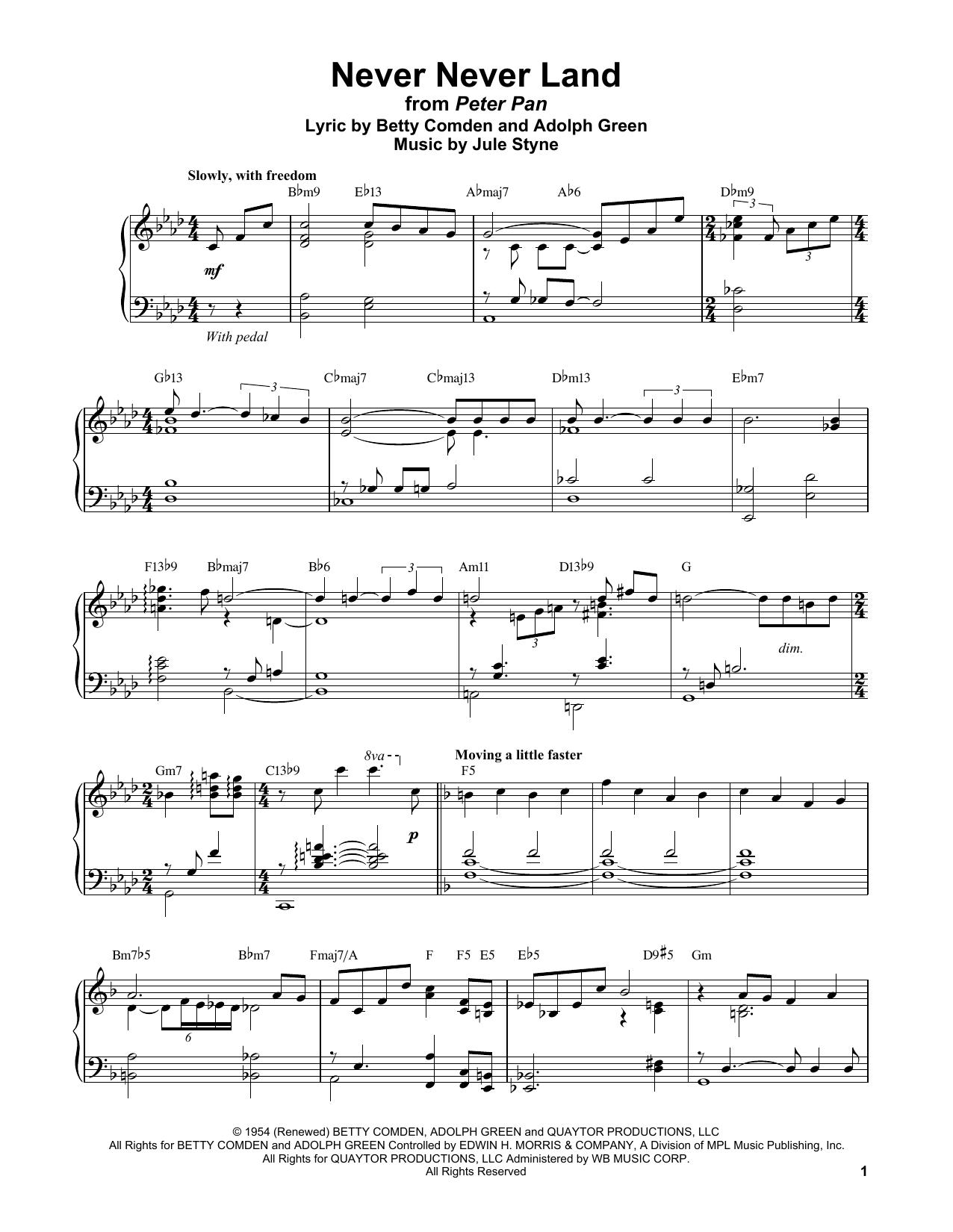 Never Never Land (Piano Transcription)
