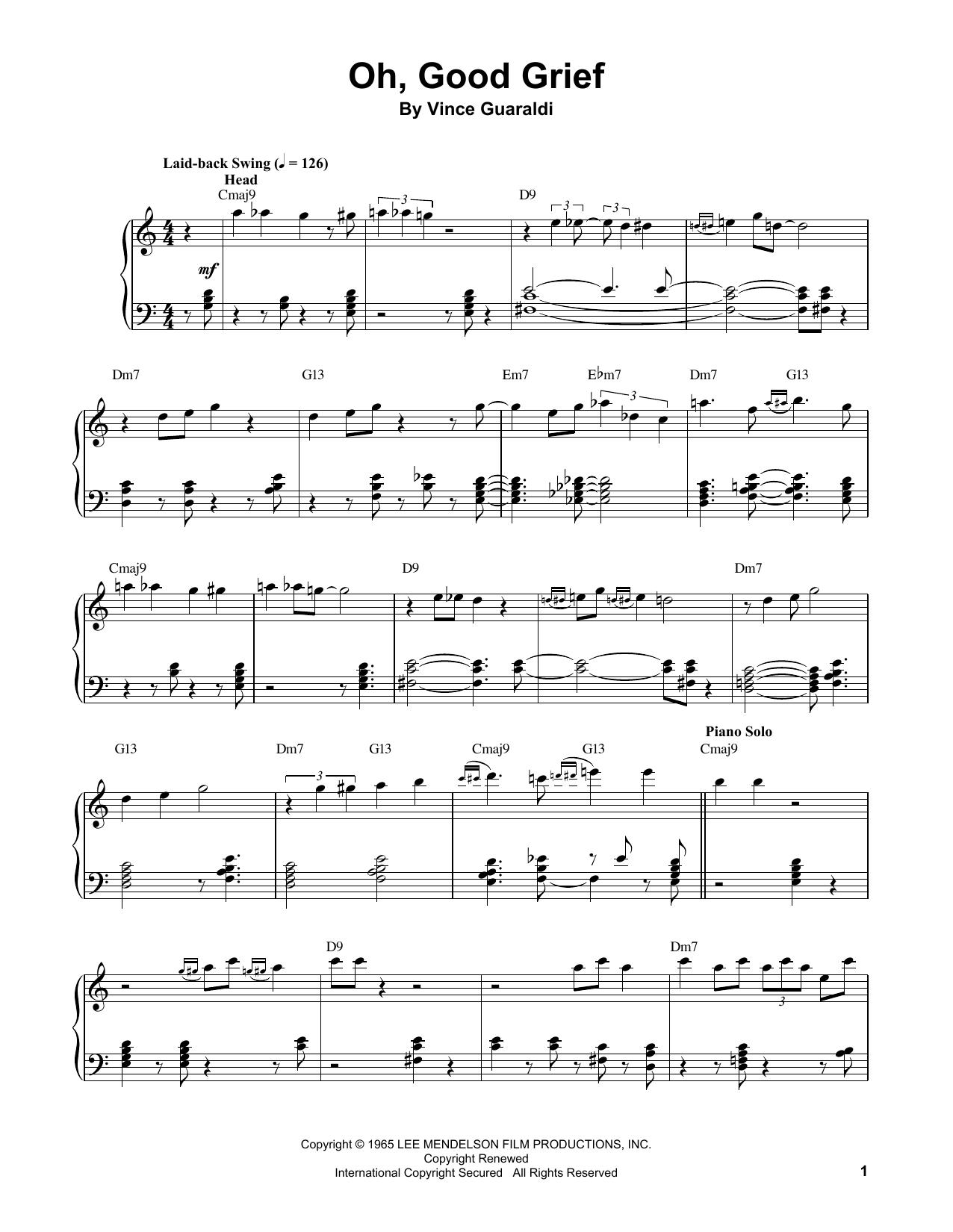 Oh, Good Grief (Piano Transcription)