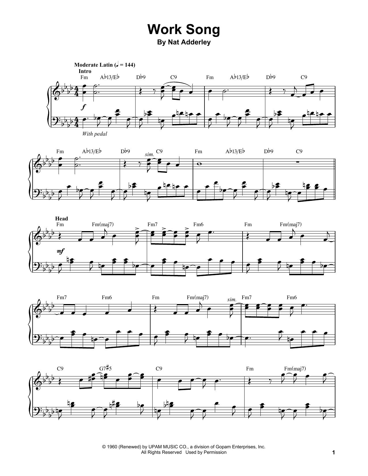 Work Song (Piano Transcription)