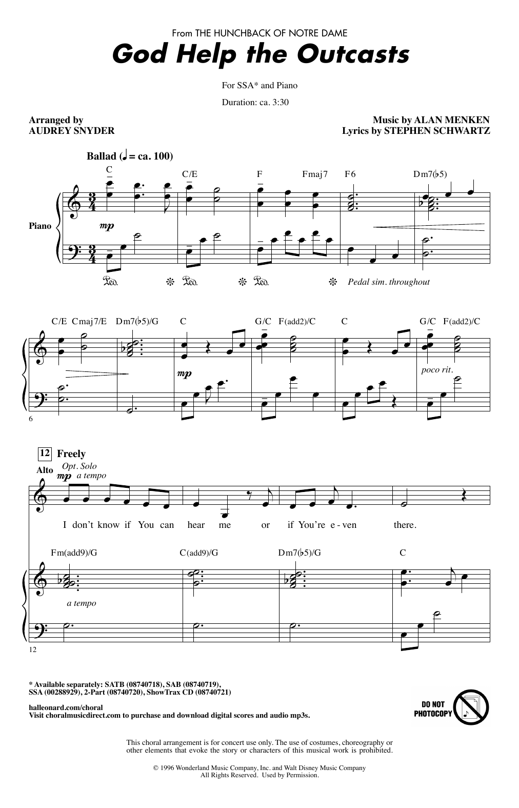 God Help The Outcasts (from The Hunchback Of Notre Dame) (arr. Audrey Snyder) (SSA Choir)