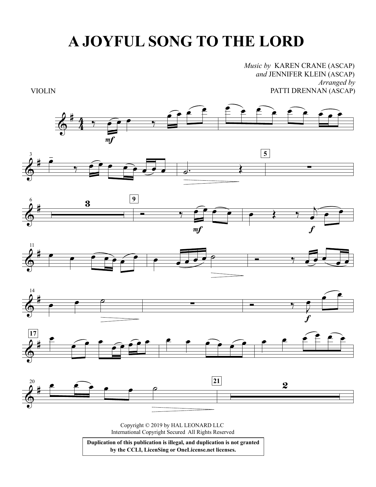 A Joyful Song to the Lord (arr. Patti Drennan) - Violin Partition Digitale