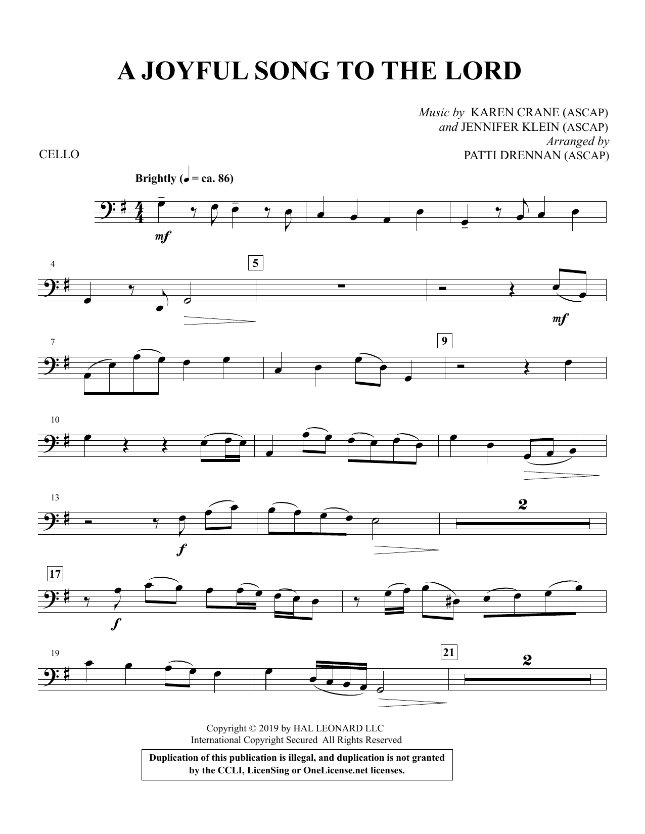 A Joyful Song to the Lord (arr. Patti Drennan) - Cello Partition Digitale
