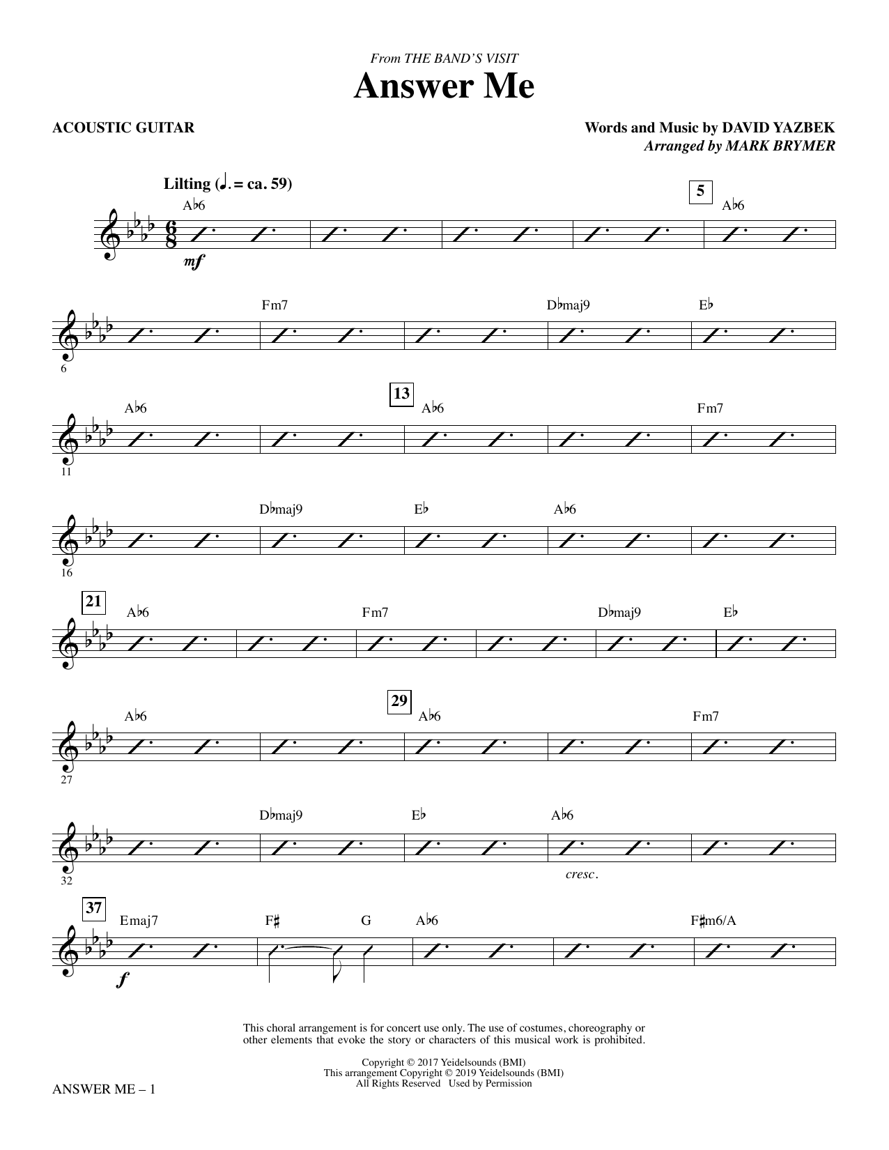 Answer Me (from The Band's Visit) (arr. Mark Brymer) - Acoustic Guitar Partition Digitale