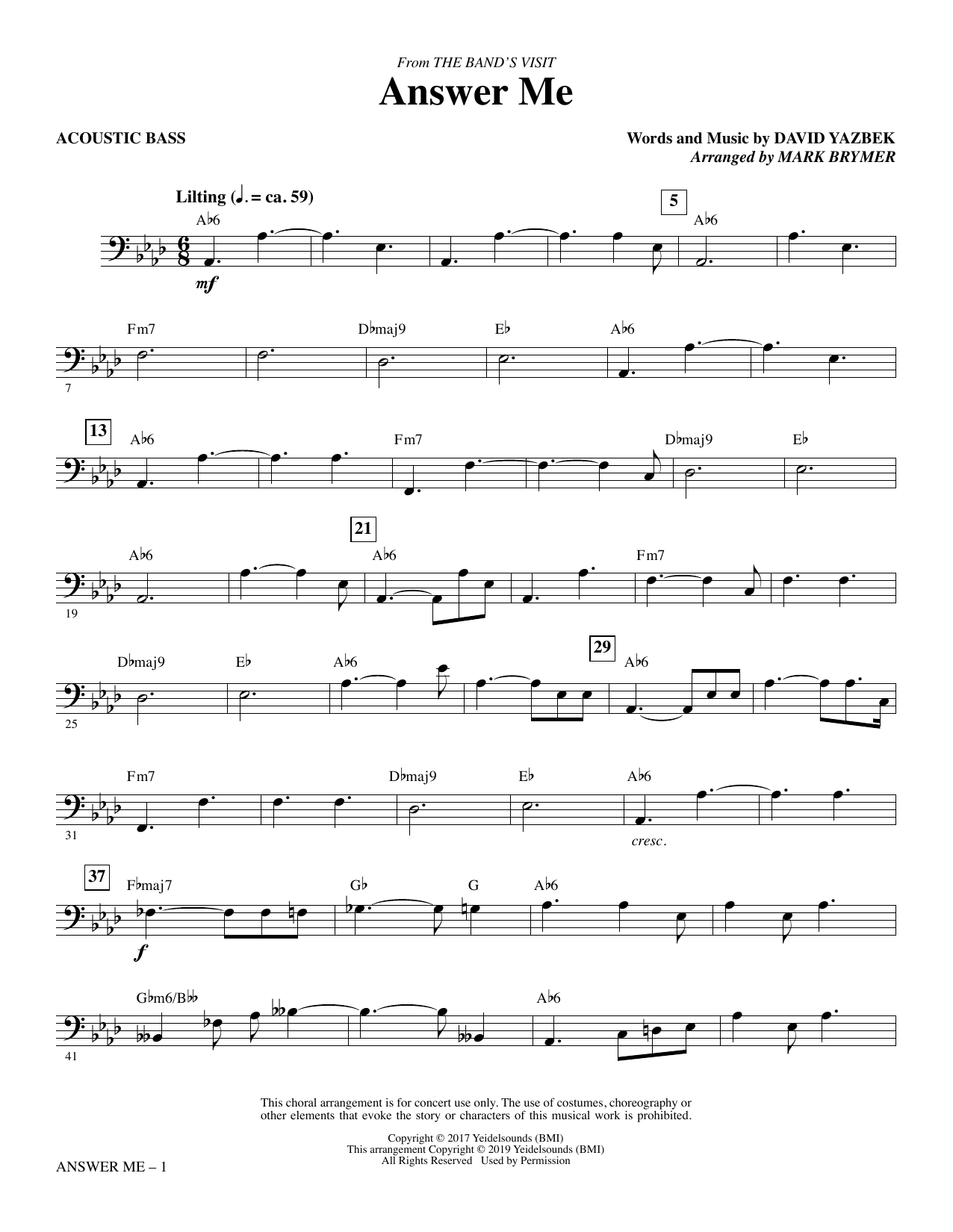 Answer Me (from The Band's Visit) (arr. Mark Brymer) - Acoustic Bass Partition Digitale