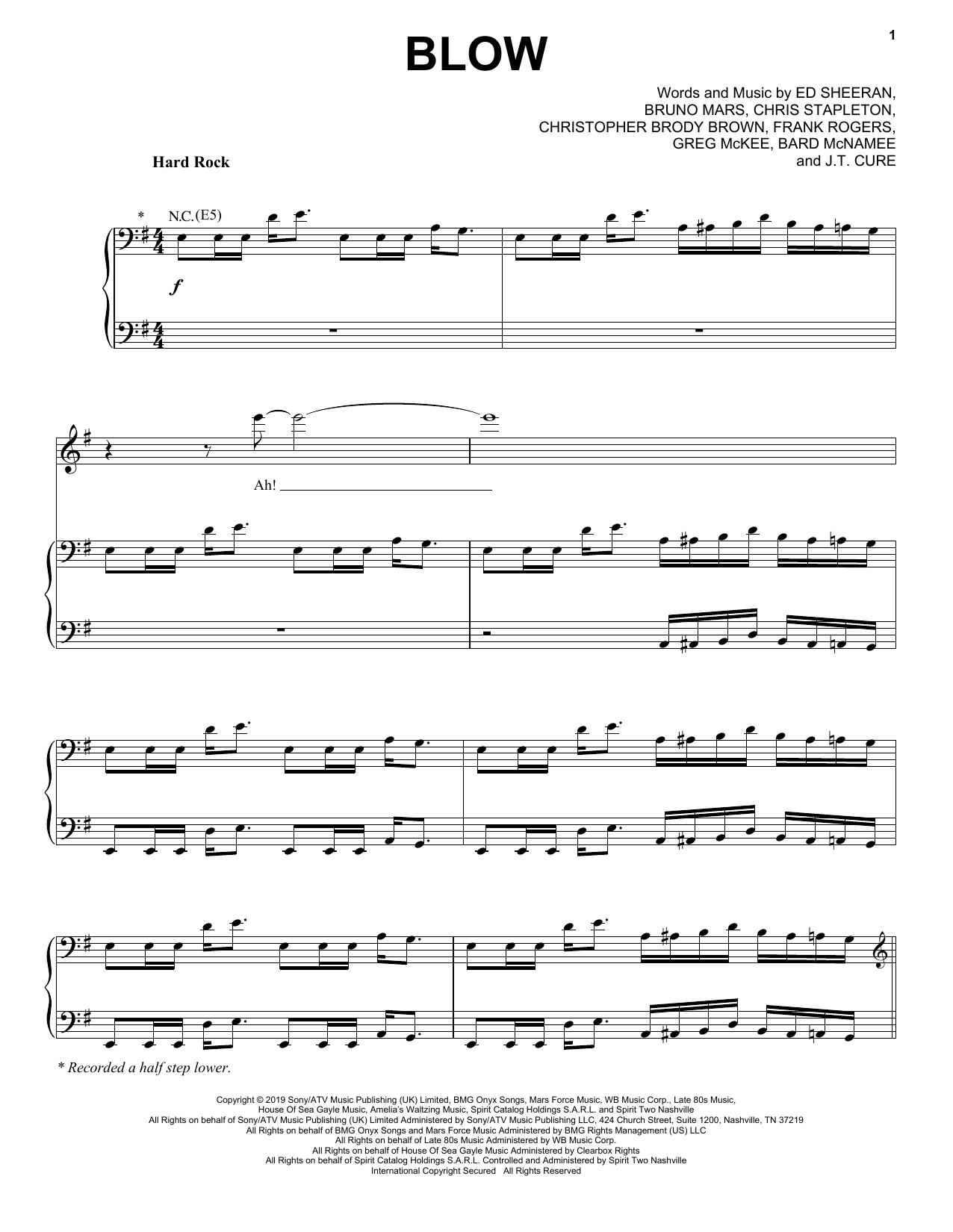 BLOW (Piano, Vocal & Guitar (Right-Hand Melody))