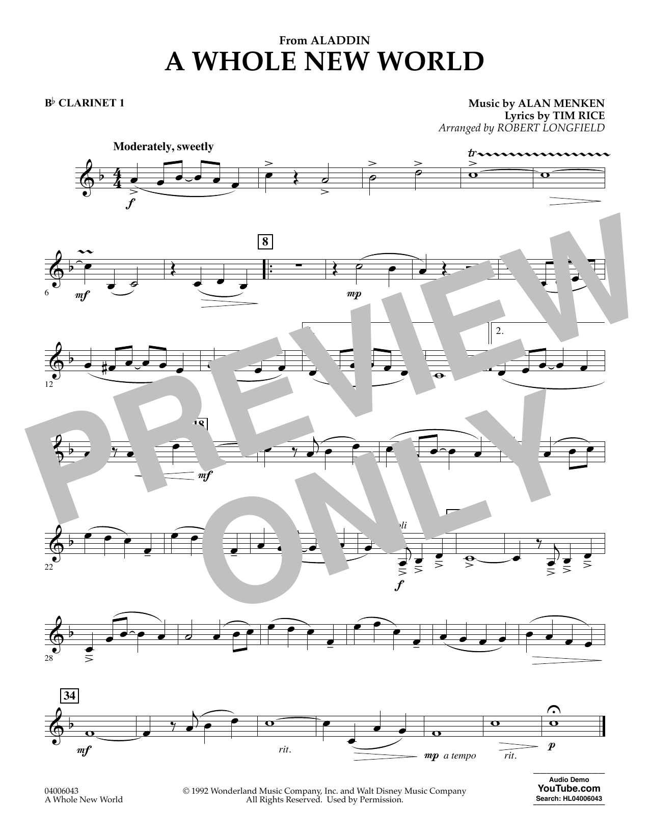 A Whole New World (from Aladdin) (arr. Robert Longfield) - Bb Clarinet 1 (Concert Band)