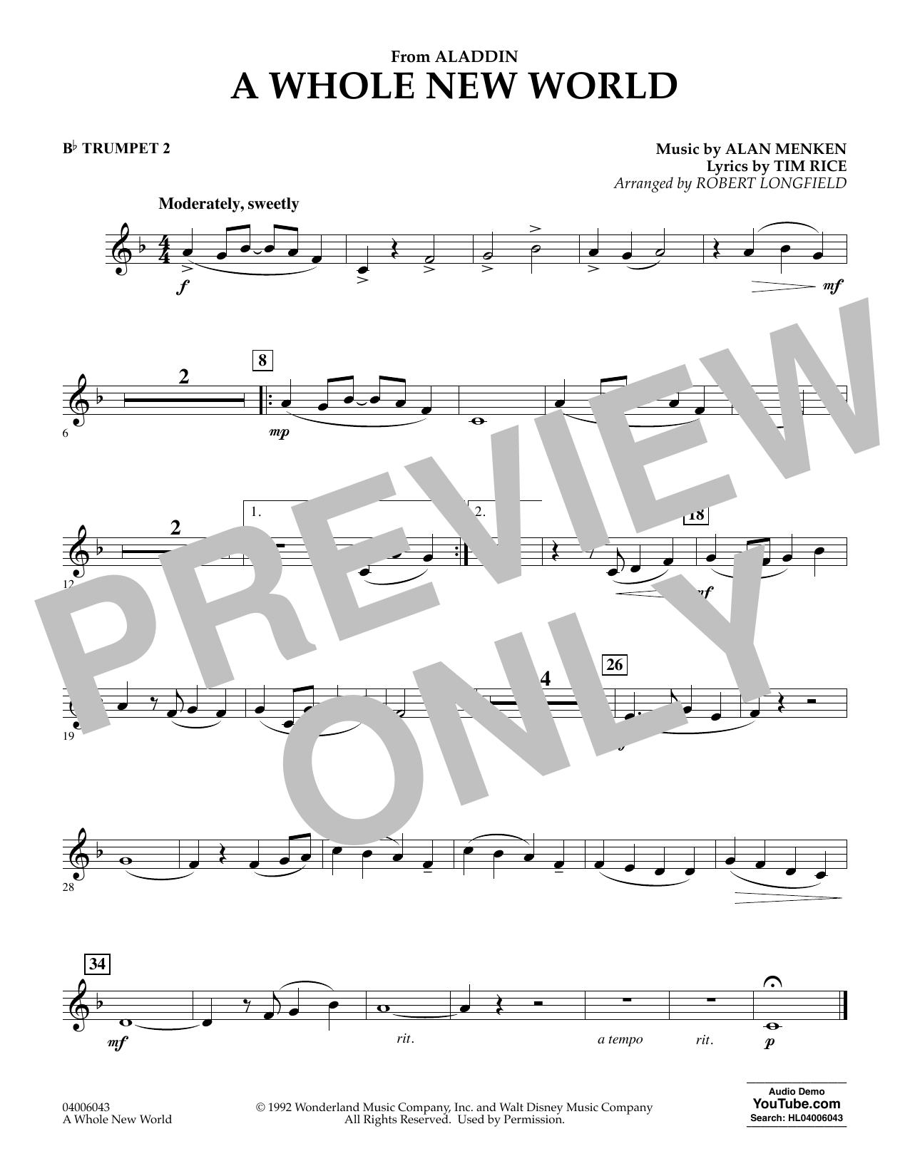 A Whole New World (from Aladdin) (arr. Robert Longfield) - Bb Trumpet 2 (Concert Band)