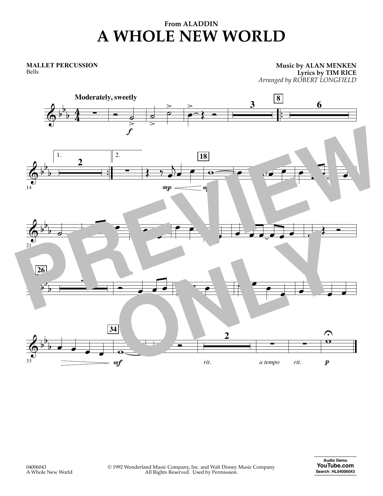 A Whole New World (from Aladdin) (arr. Robert Longfield) - Mallet Percussion (Concert Band)
