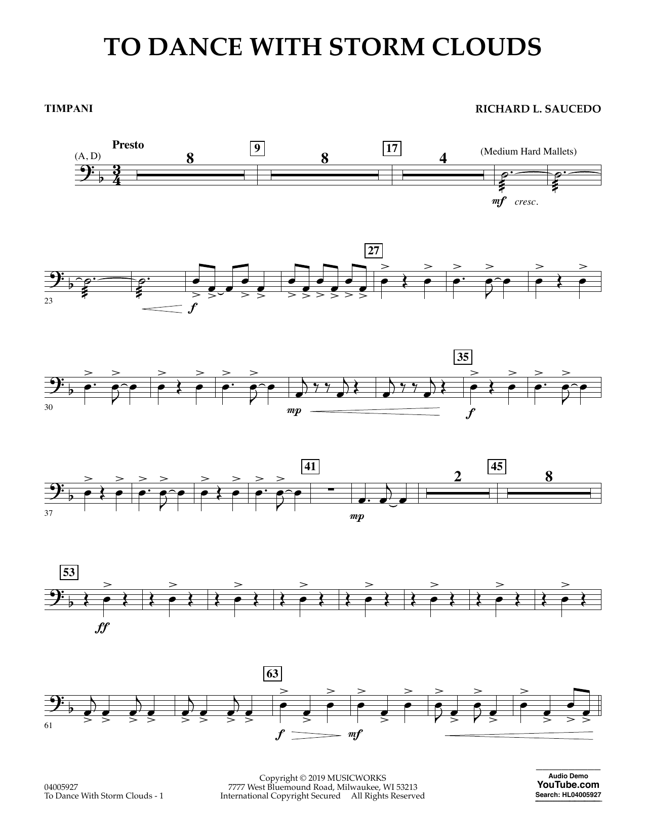 To Dance with Storm Clouds - Timpani (Concert Band)