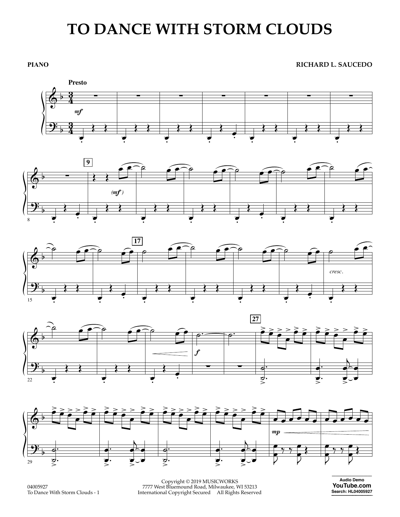 To Dance with Storm Clouds - Piano (Concert Band)