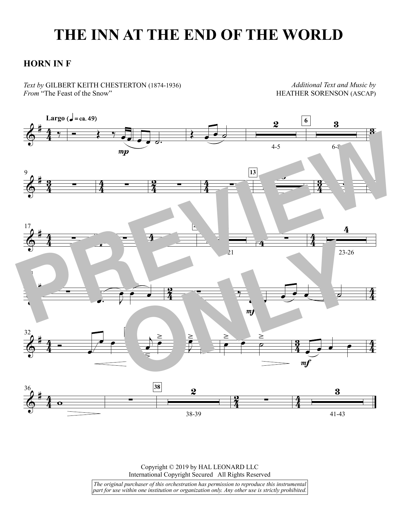The Inn at the End of the World (arr. Heather Sorenson) - F Horn Sheet Music