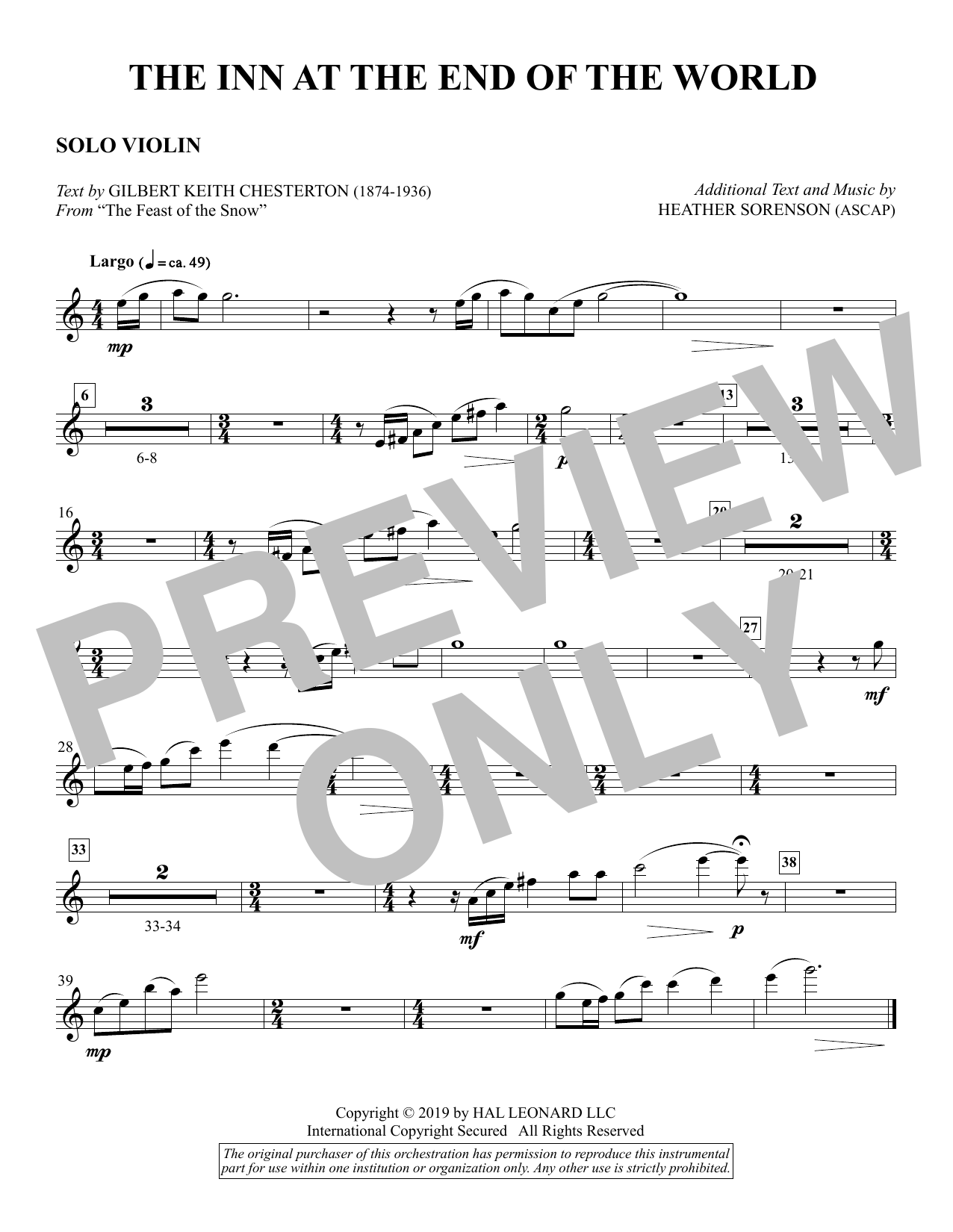 The Inn at the End of the World (arr. Heather Sorenson) - Solo Violin Sheet Music