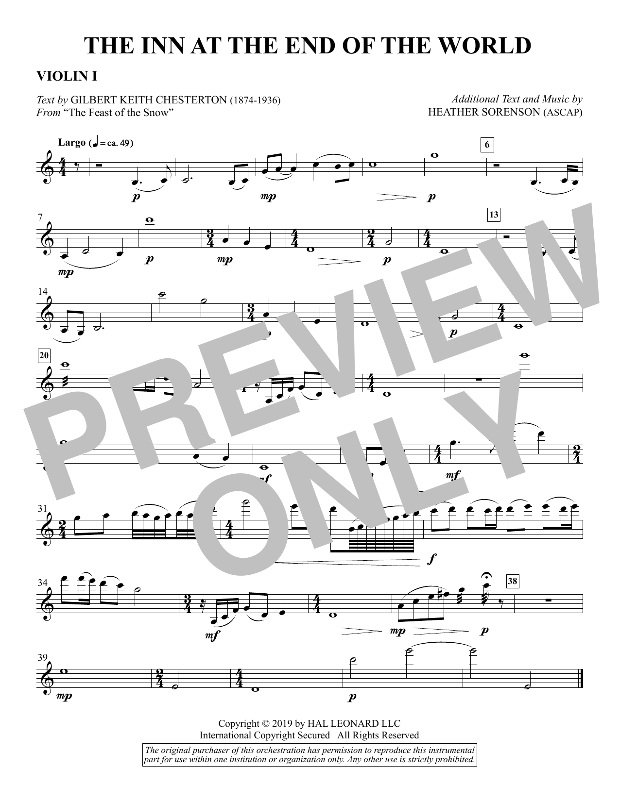 The Inn at the End of the World (arr. Heather Sorenson) - Violin 1 Sheet Music