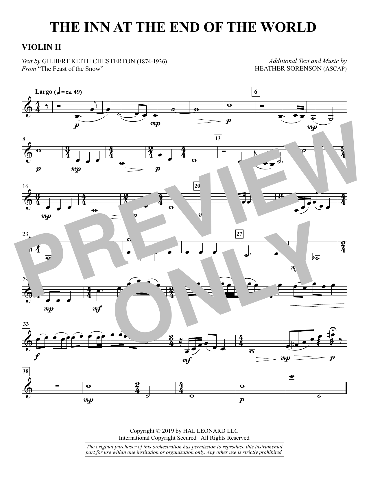 The Inn at the End of the World (arr. Heather Sorenson) - Violin 2 Sheet Music
